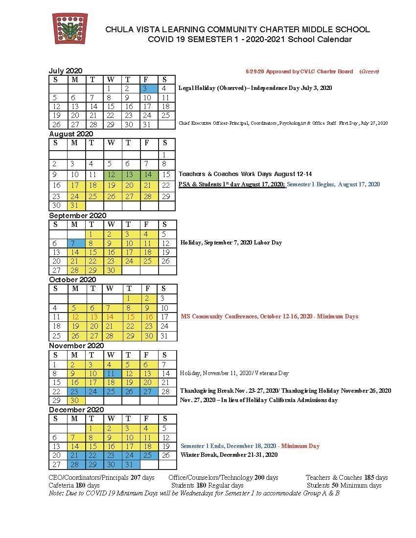 Catch Chula Vista Elementary School Calendar 2021
