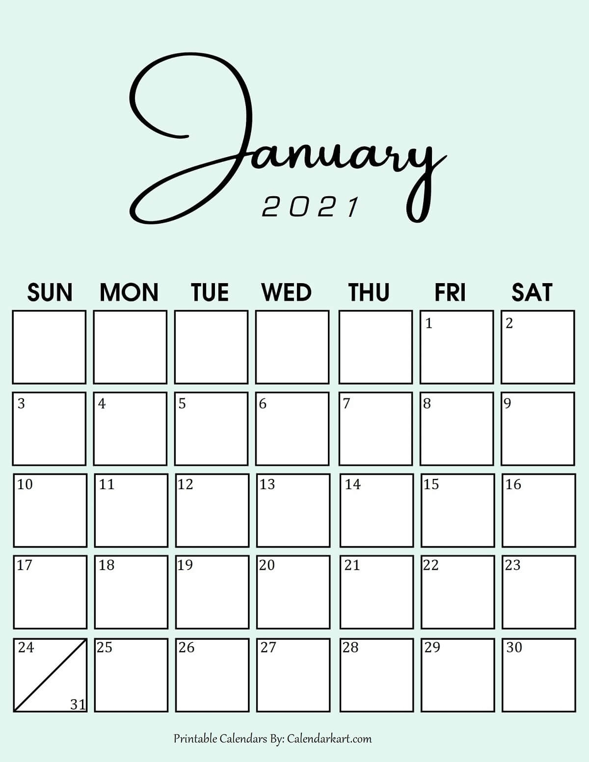Catch Cute 2021 Printable Calendar By Month
