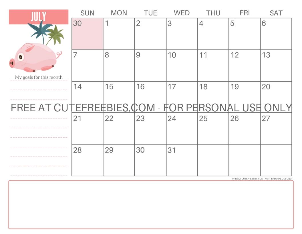 Catch Cute August 2021 Pig Calendar Printable