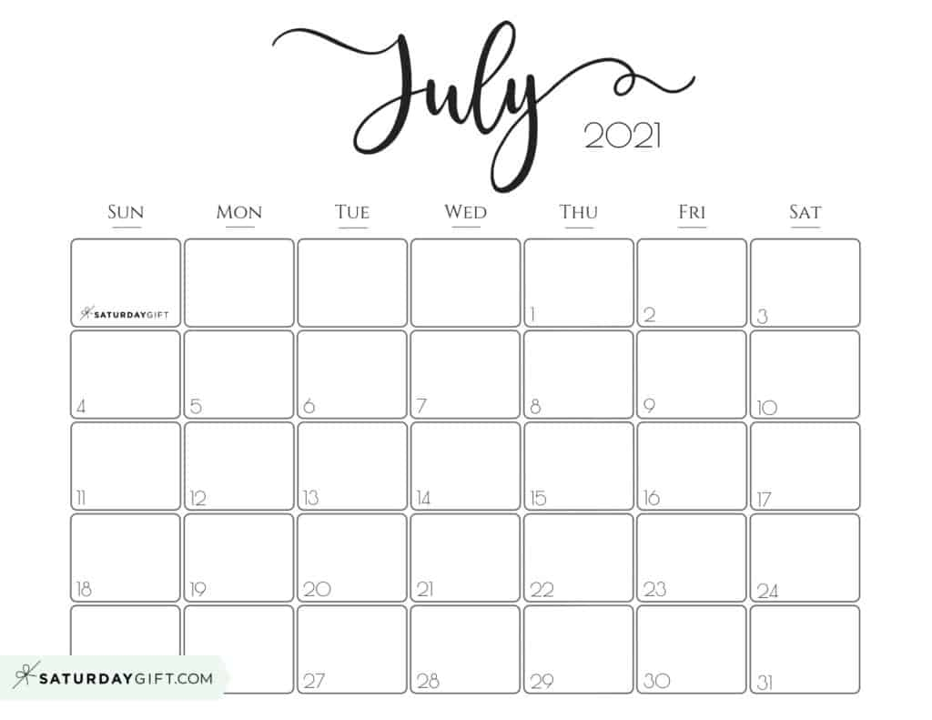 Catch Cute Free Printable Calendar July 2021