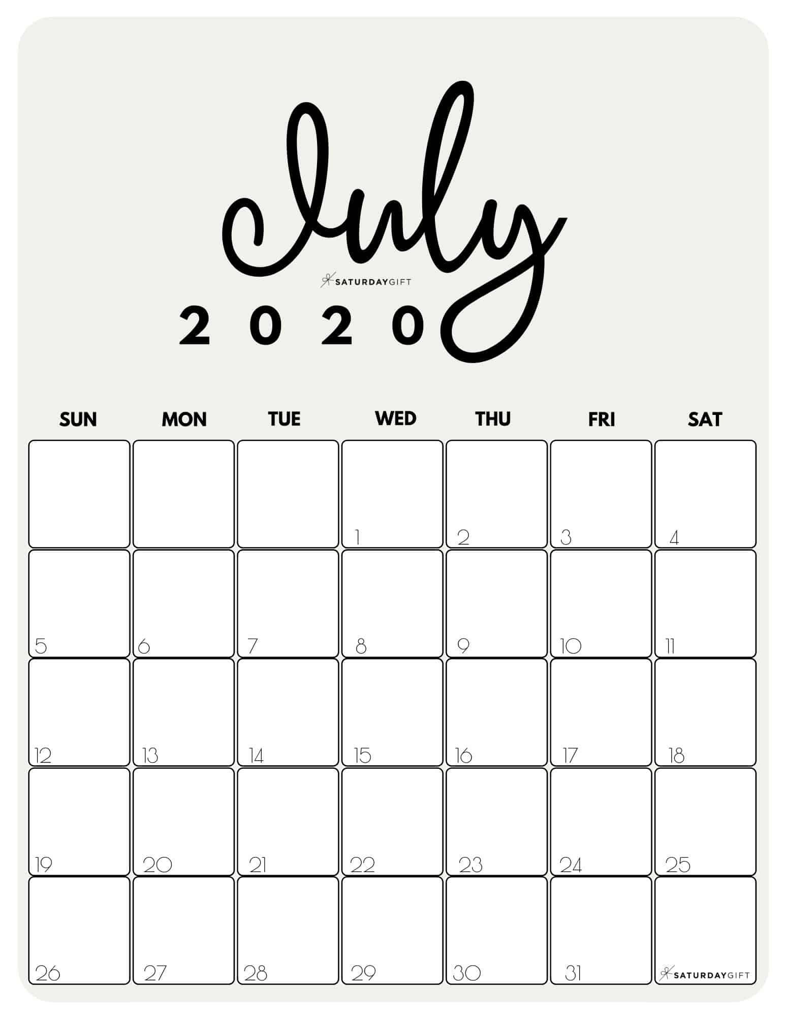 Catch Cute Free Printable Calenxdar July
