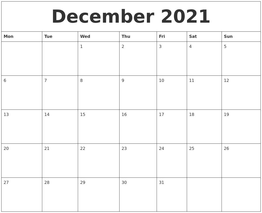 Catch Cute Printable Pdf December 2021 Calander