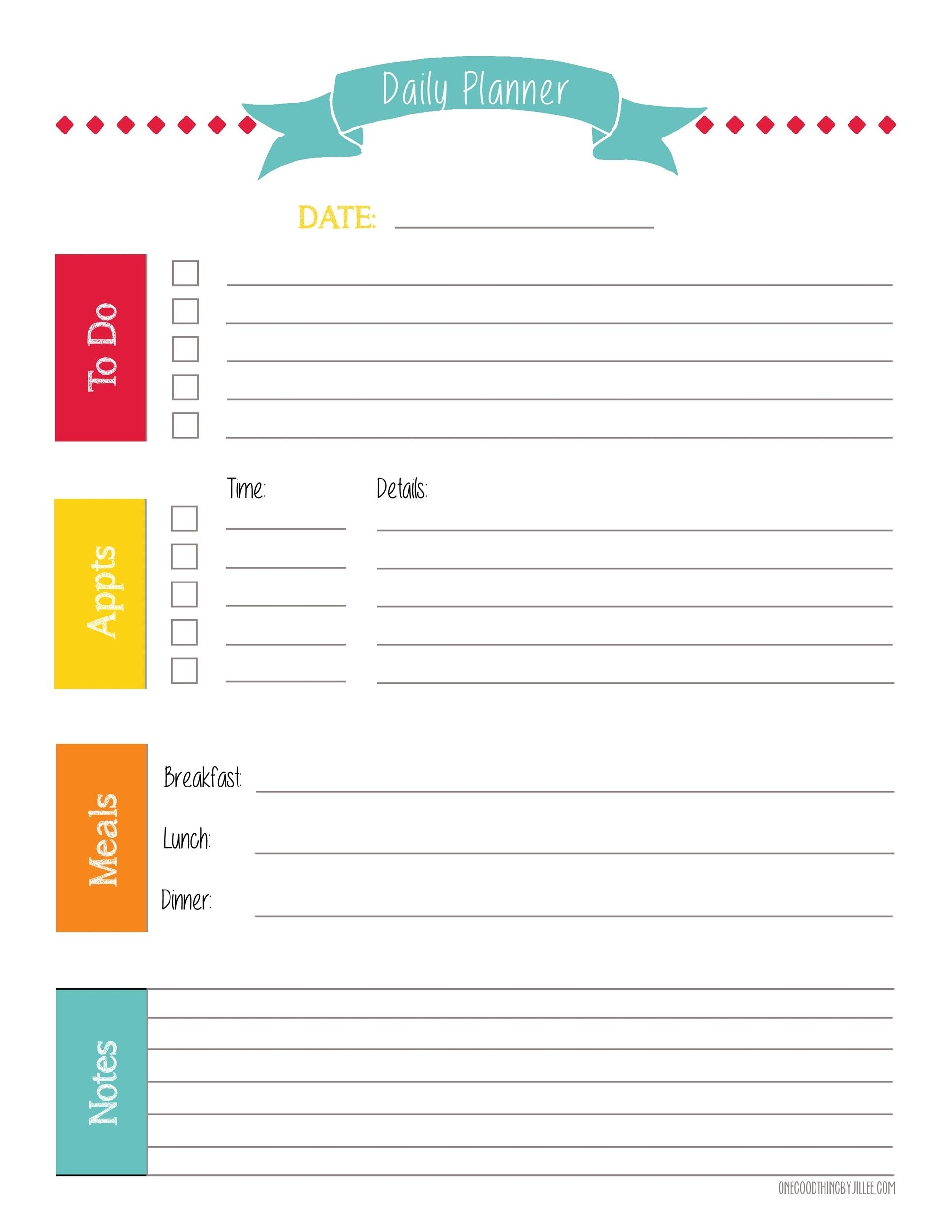 Catch Daily Organizer Free Printable Template