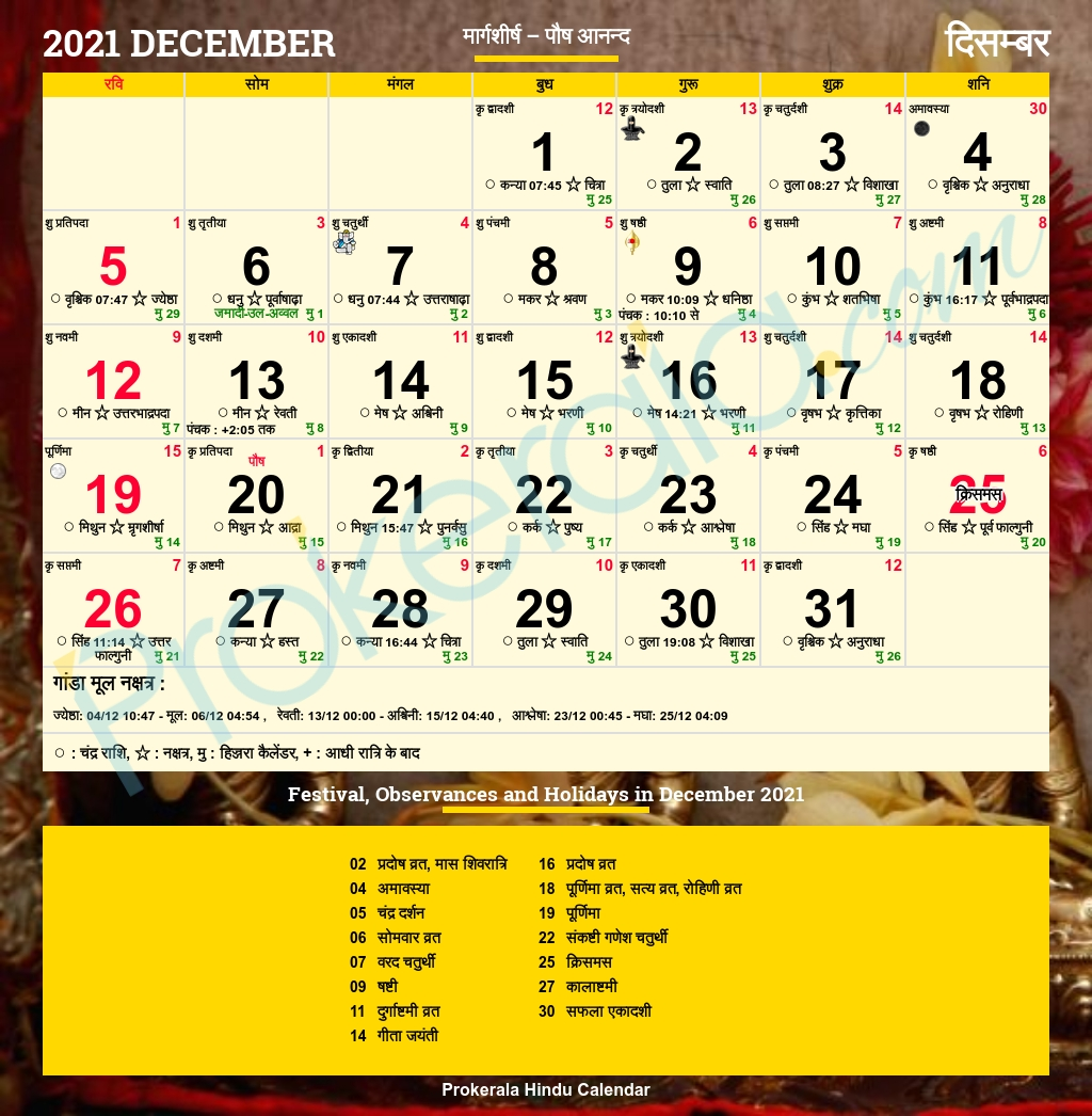 Catch December 2021 Calendar Kalnirnay