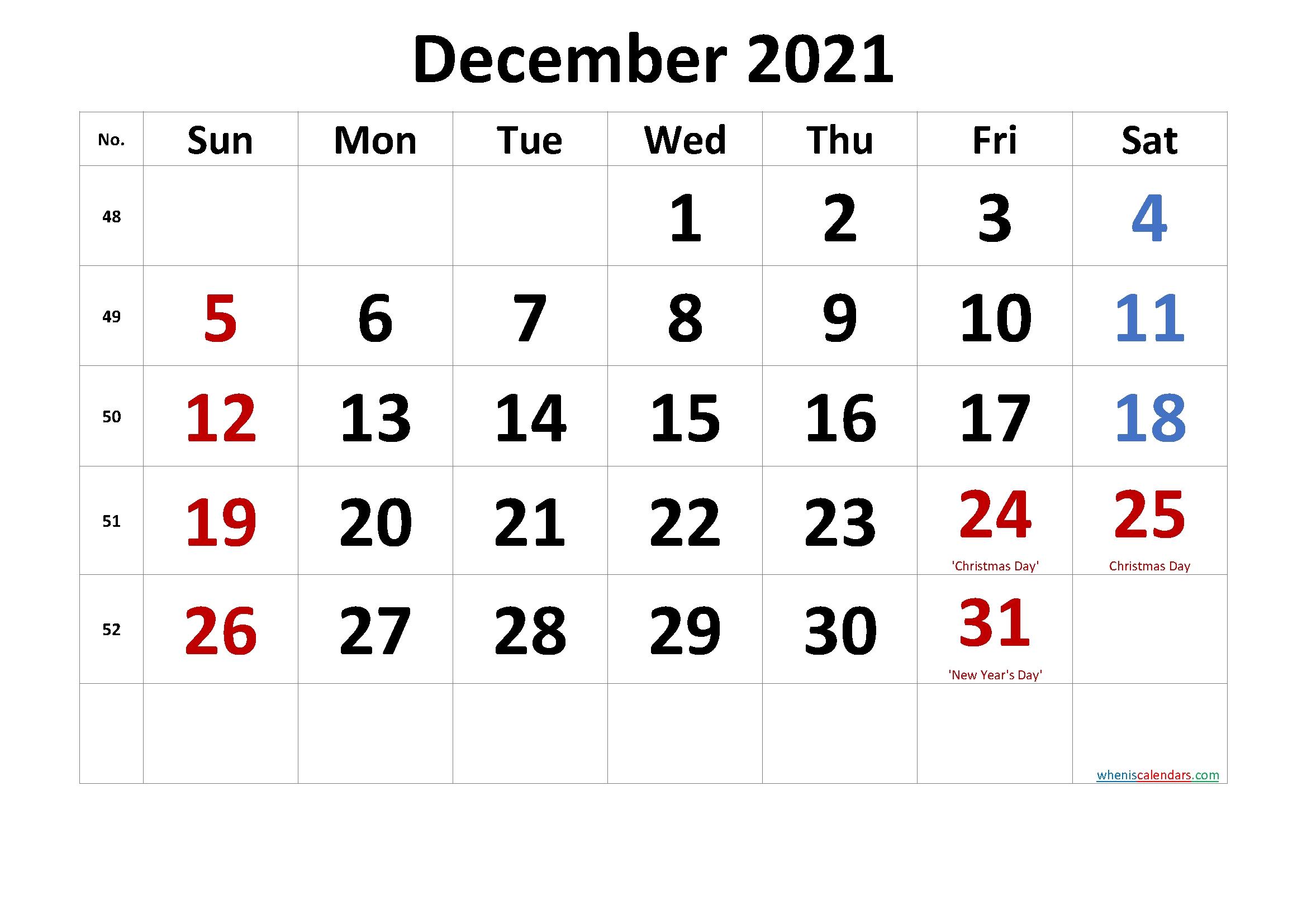 Catch December Christmas 2021 Calendar Template