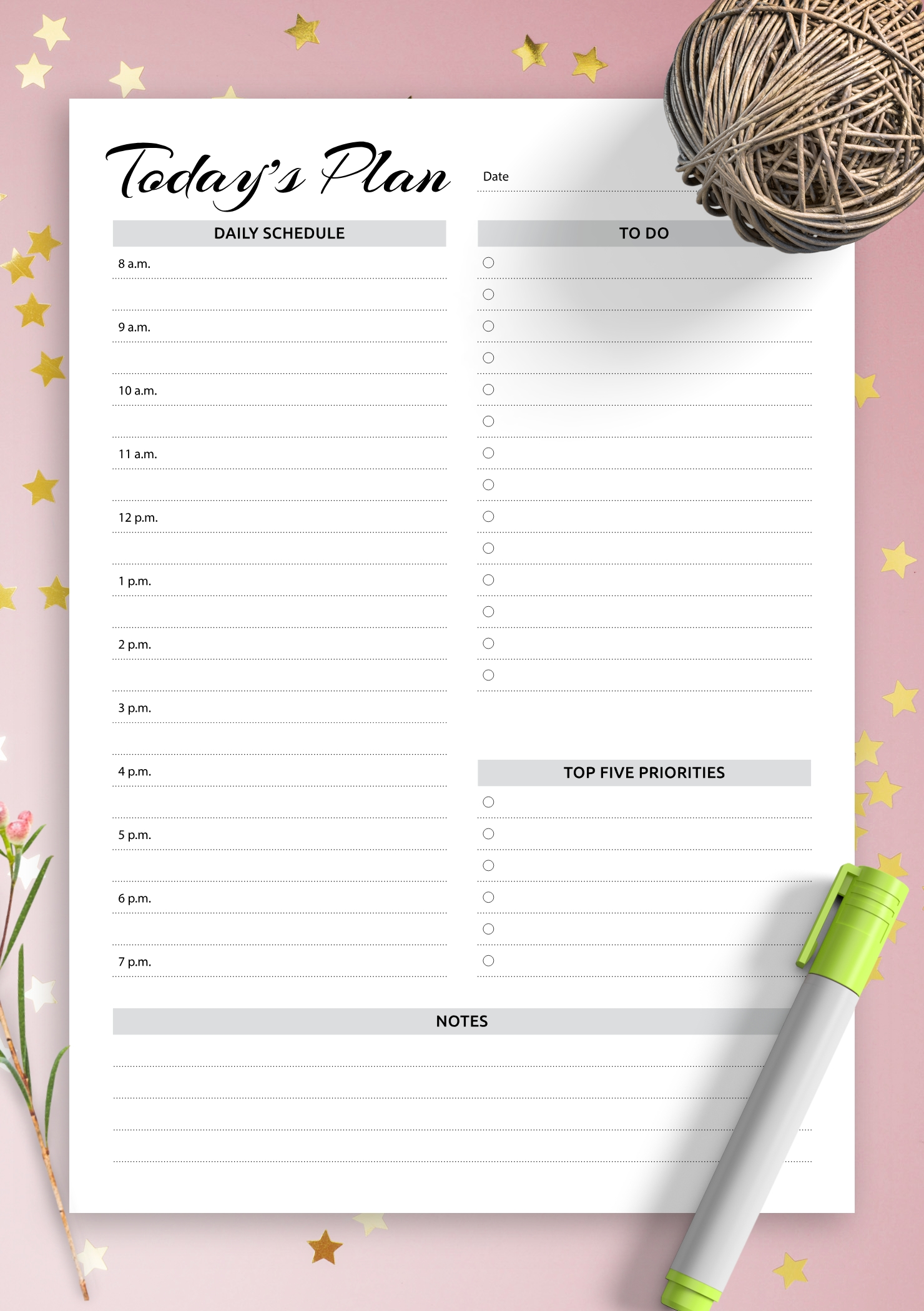 Catch Editable Daily Calendar With Times