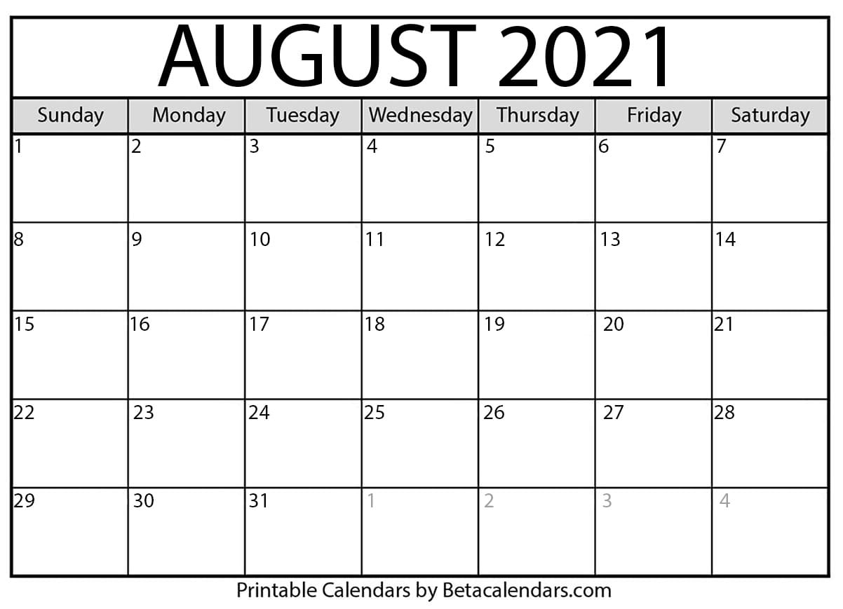 Catch Fill In August 2021 Calendar