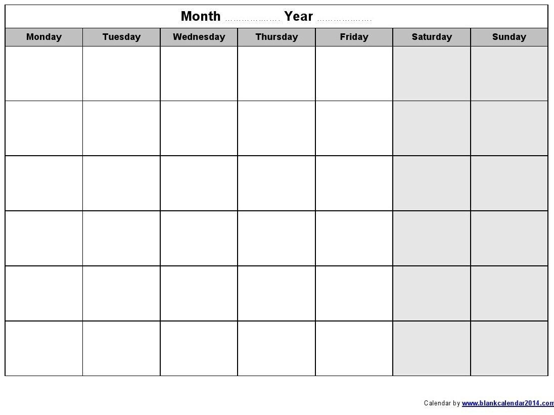 Catch Free Monday Through Sunday Calendar Template