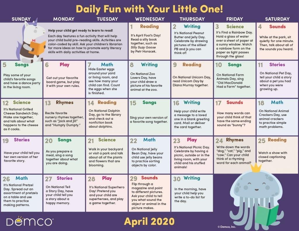 Catch Free Monthly Activities Calendar
