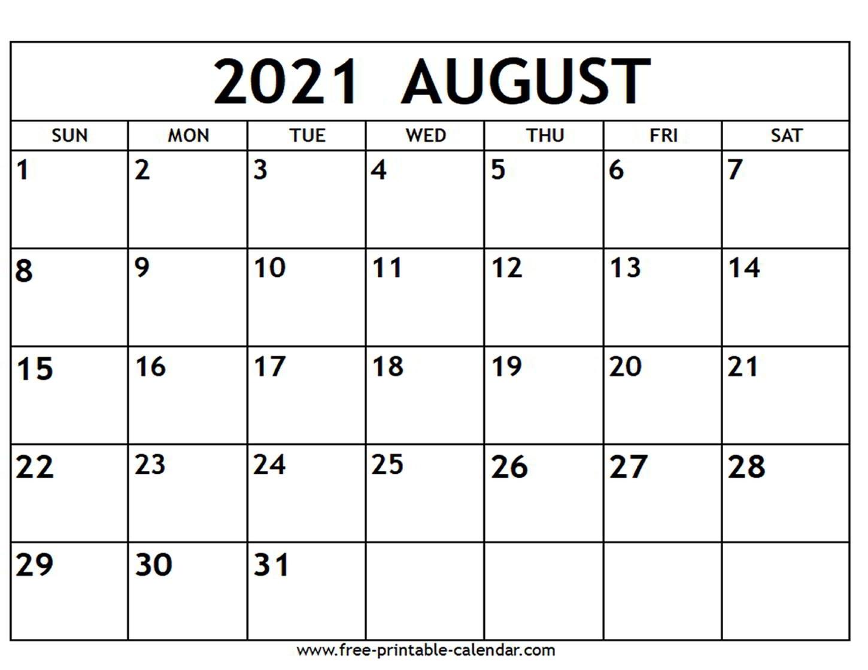 Catch Free Printable August 2021 Calendar