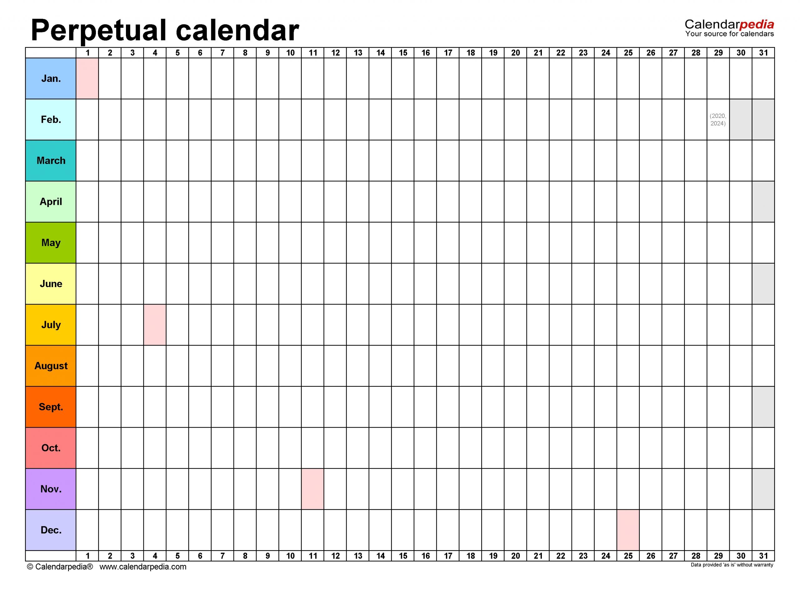 Catch Free Printable Blank Perpetual Calendars