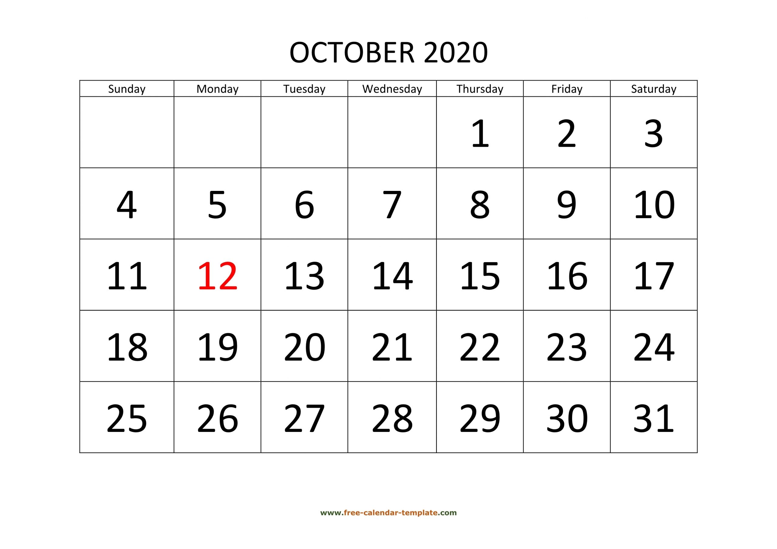 Catch Free Printable Calendars With Large Numbers