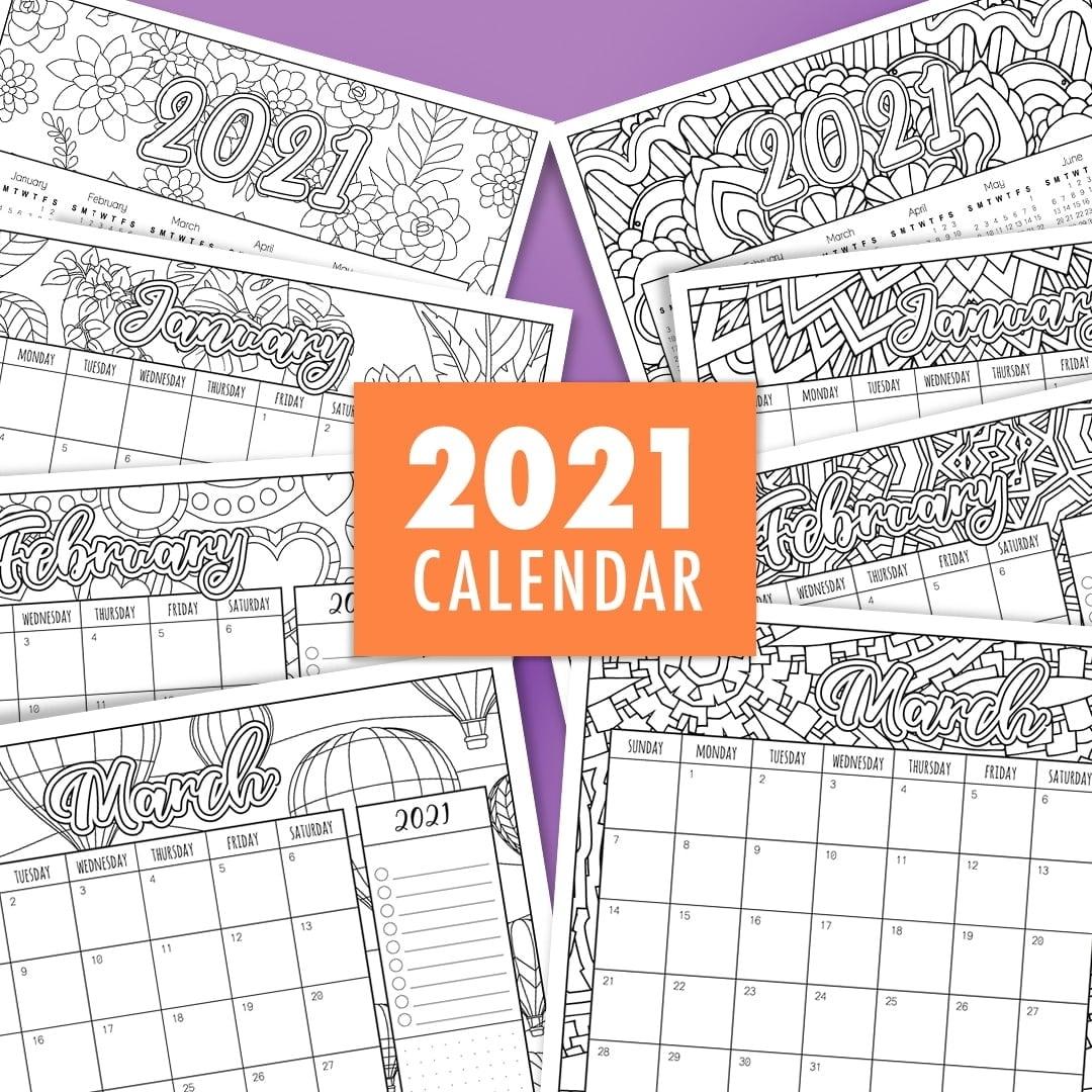 Catch Free Printable Coloring Calendar 2021