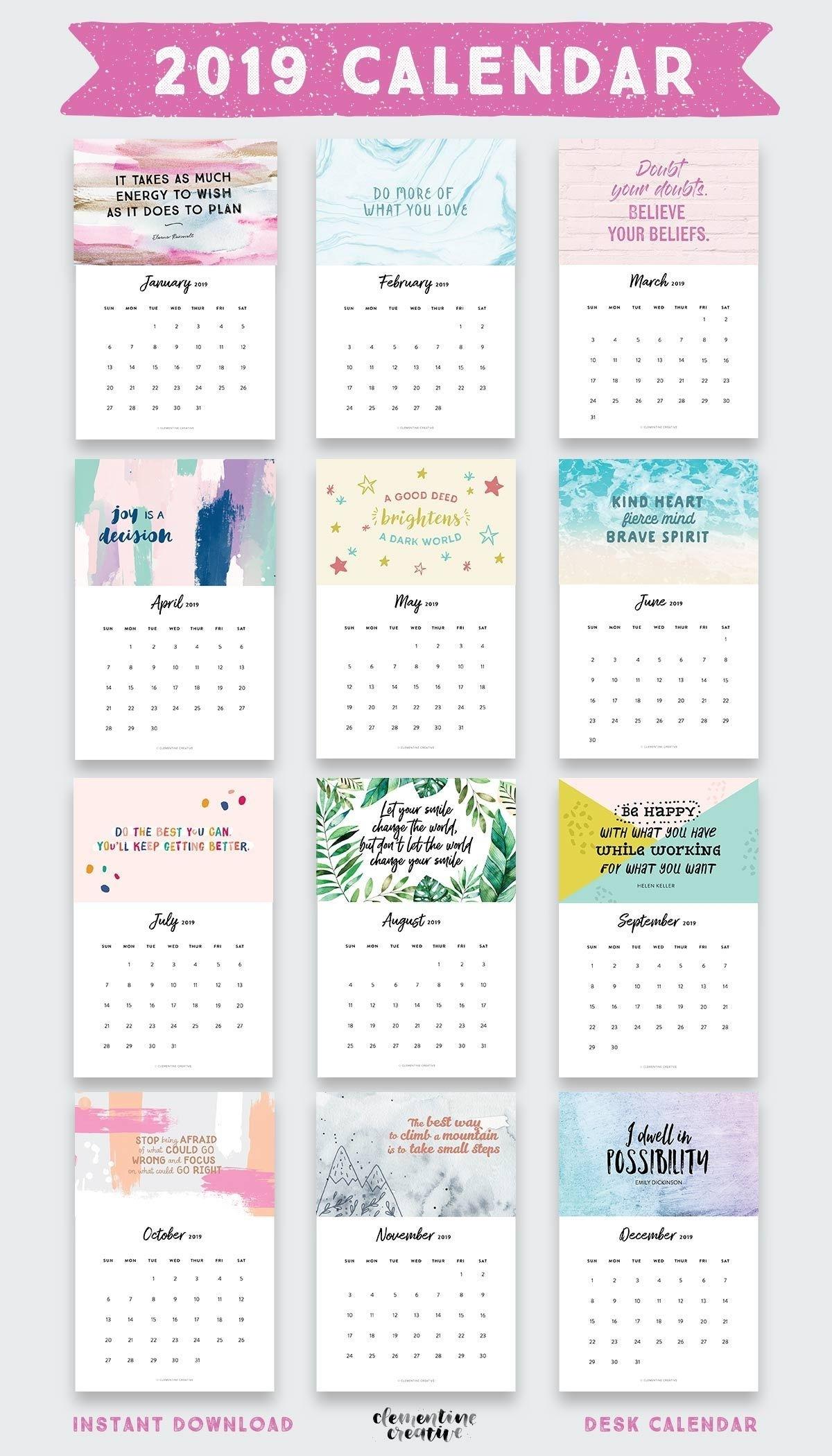 Catch Free Printable Inspirational Calendar