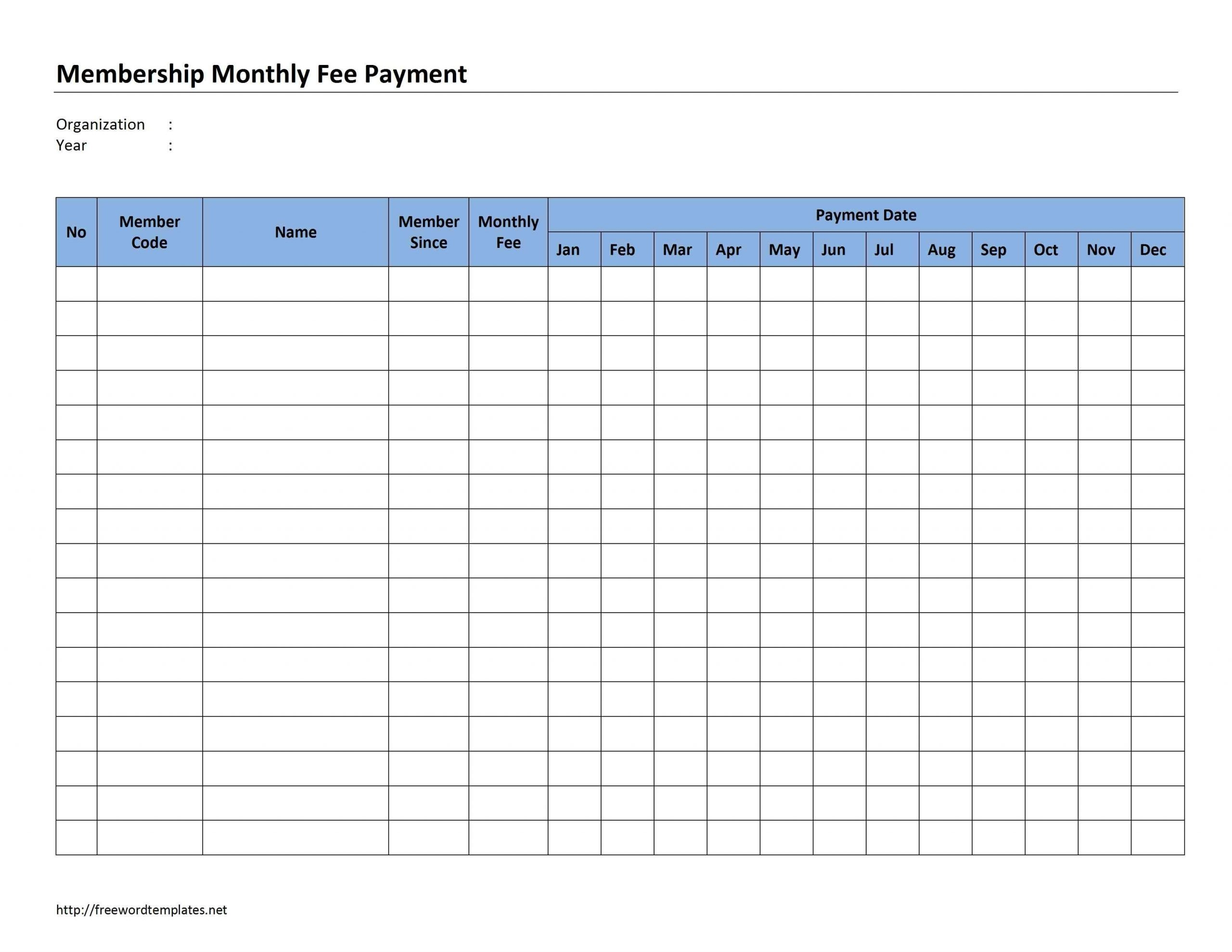Catch Free Printable Monthly Payment Sheet