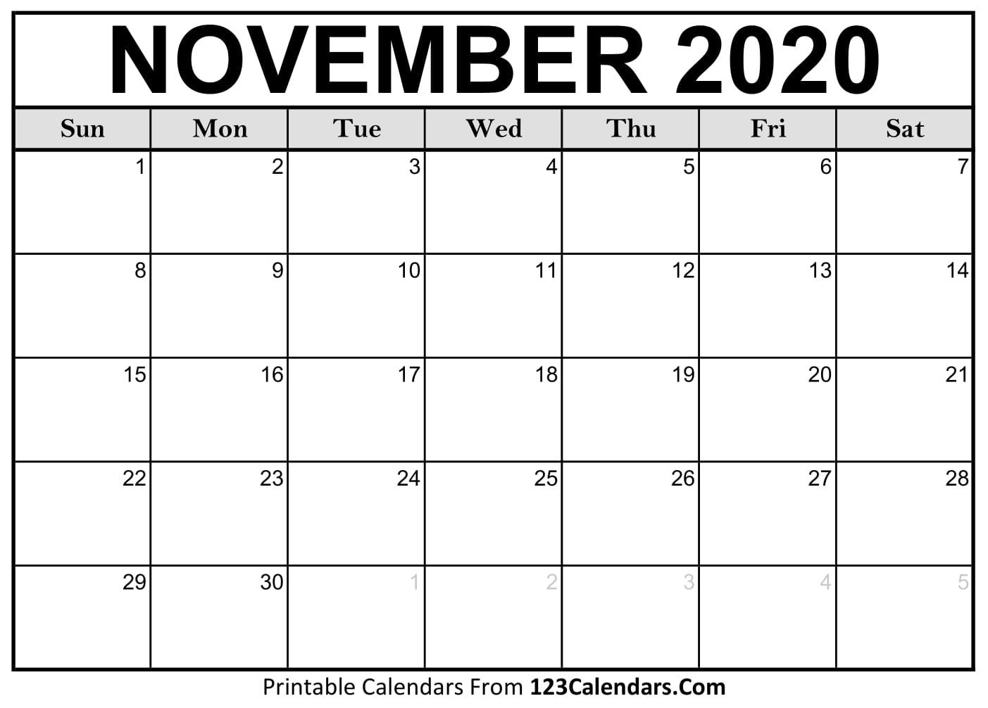 Catch Free Printable November Calendar