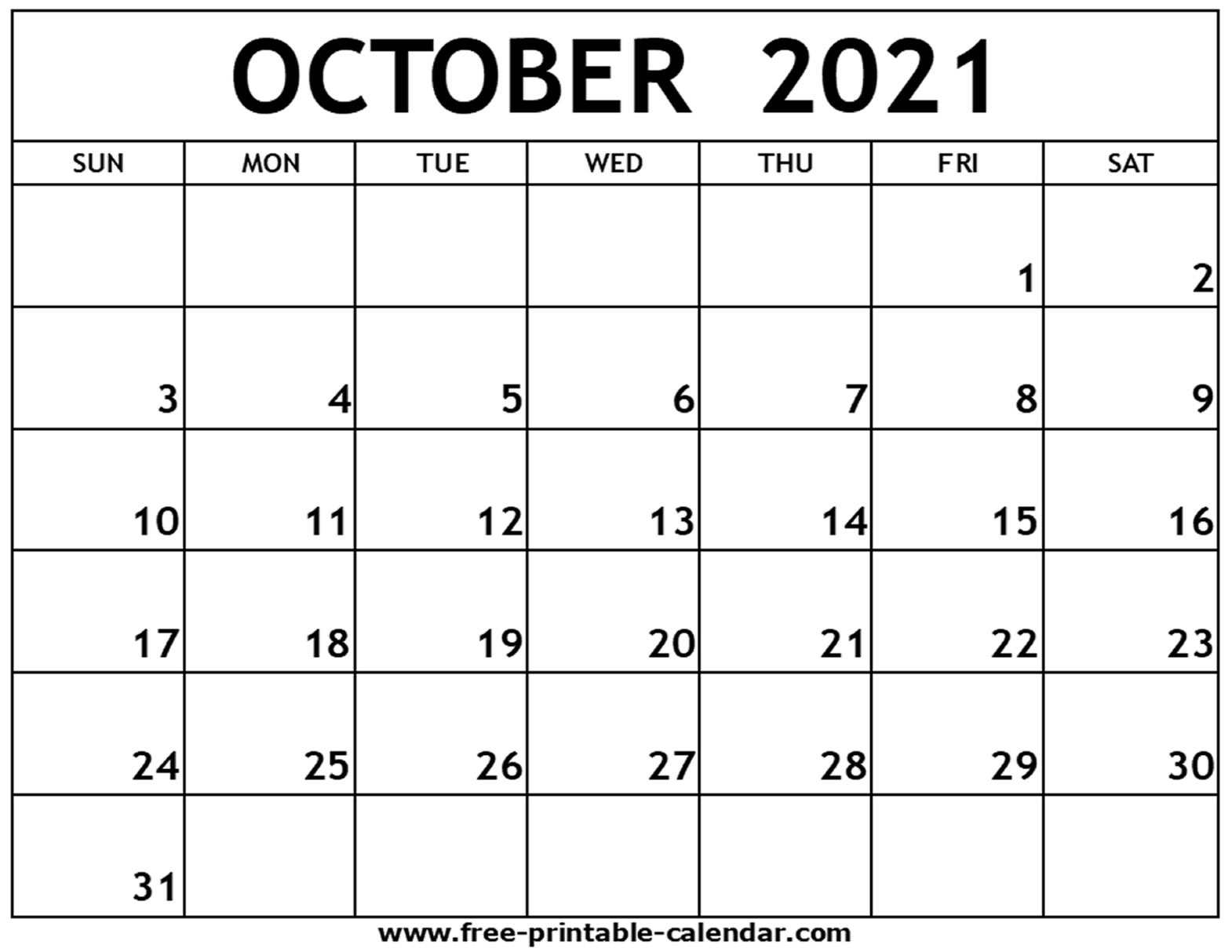 Catch Free Printable October 2021 Calendar