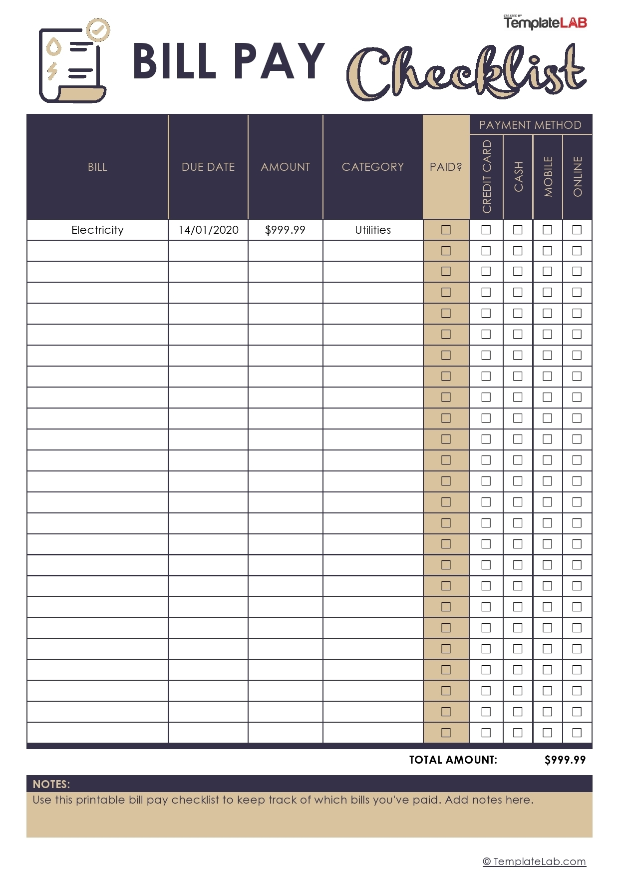 Catch Free Printable Pdf Bill Pay Worksheets