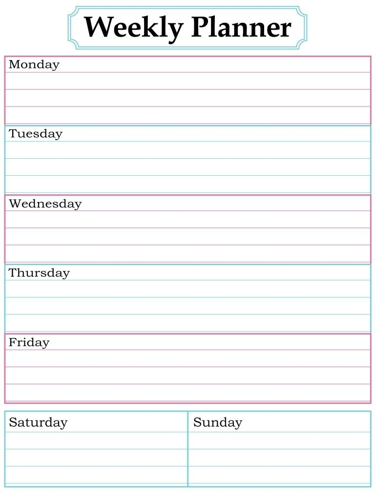 Catch Free Printable Weekly Calendar Templates