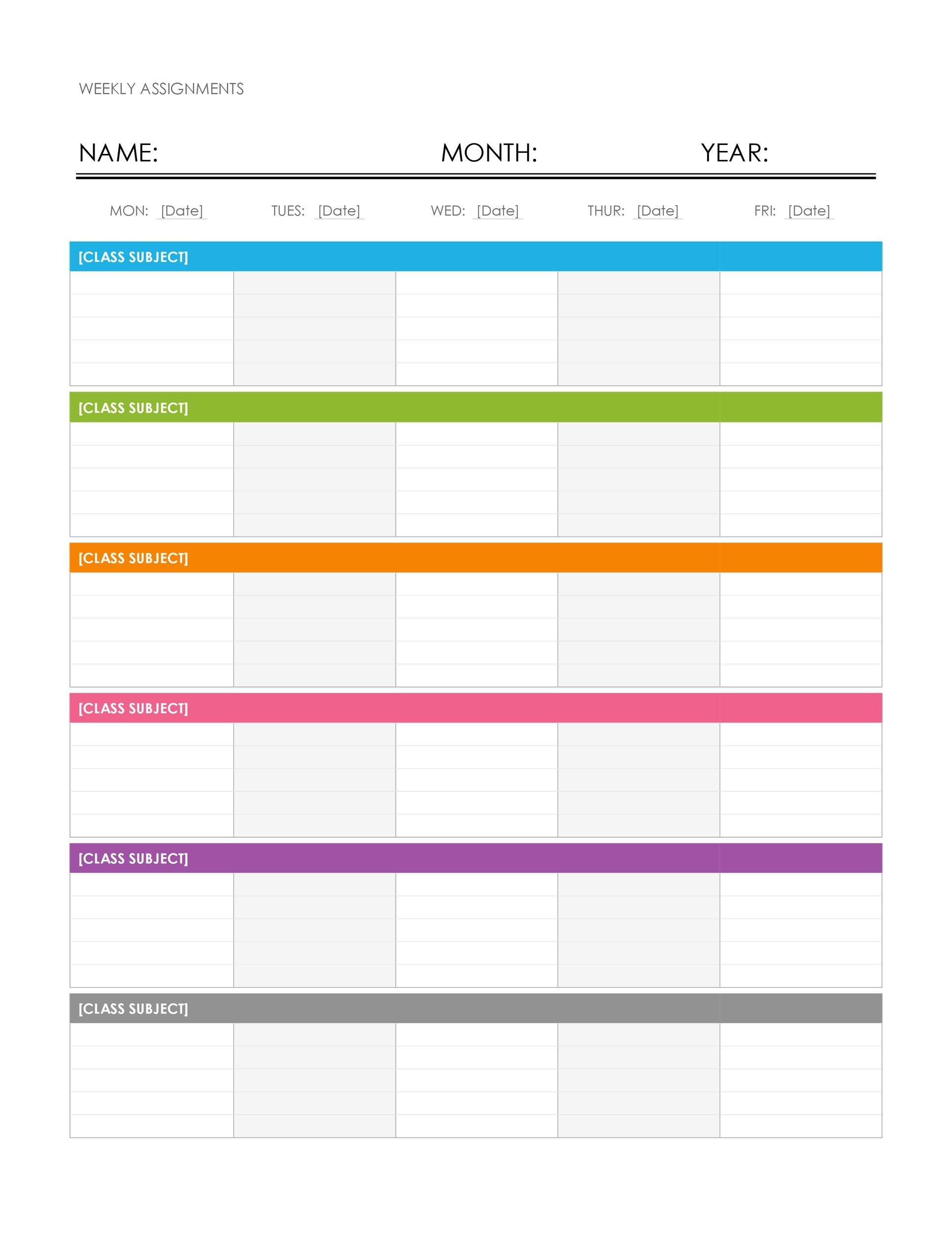 Catch Free Printable Weekly Schedule Template