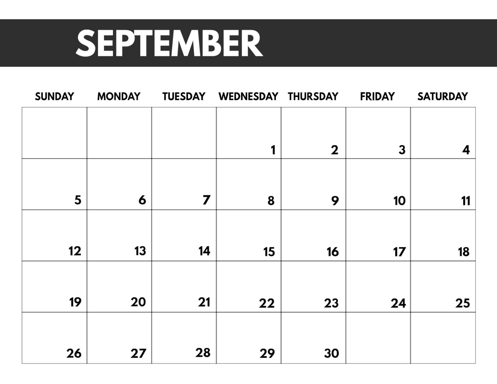 Catch Full Size September 2021 Calendar Printable
