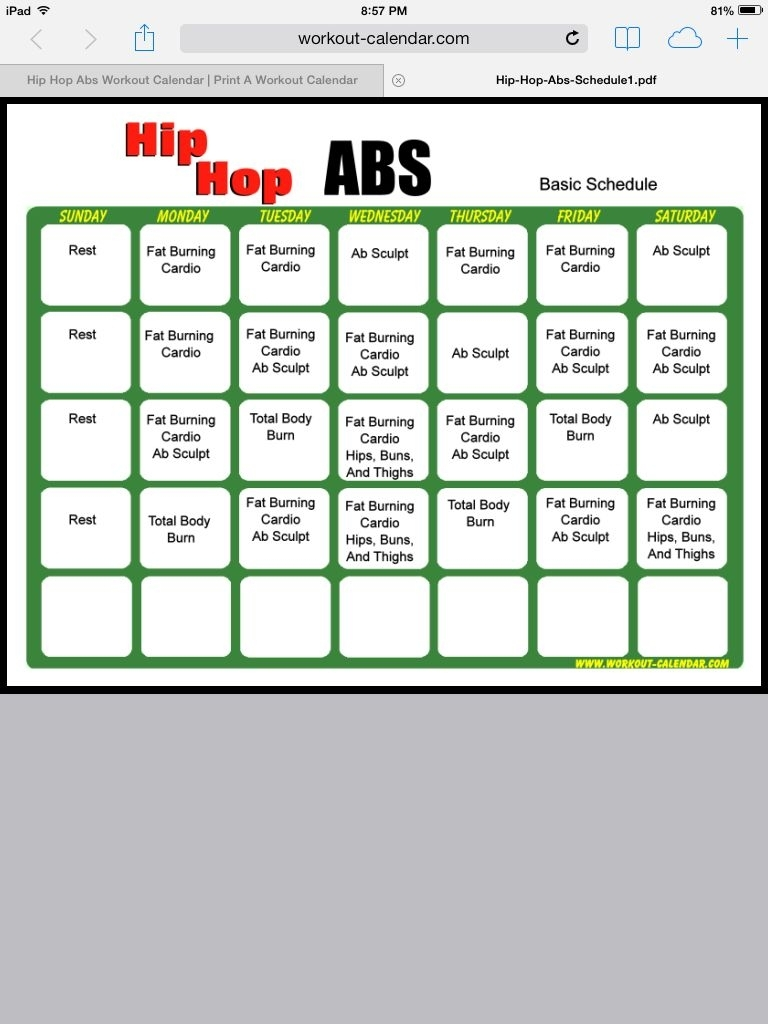 Catch Hip Hop Abs Calendar Printable