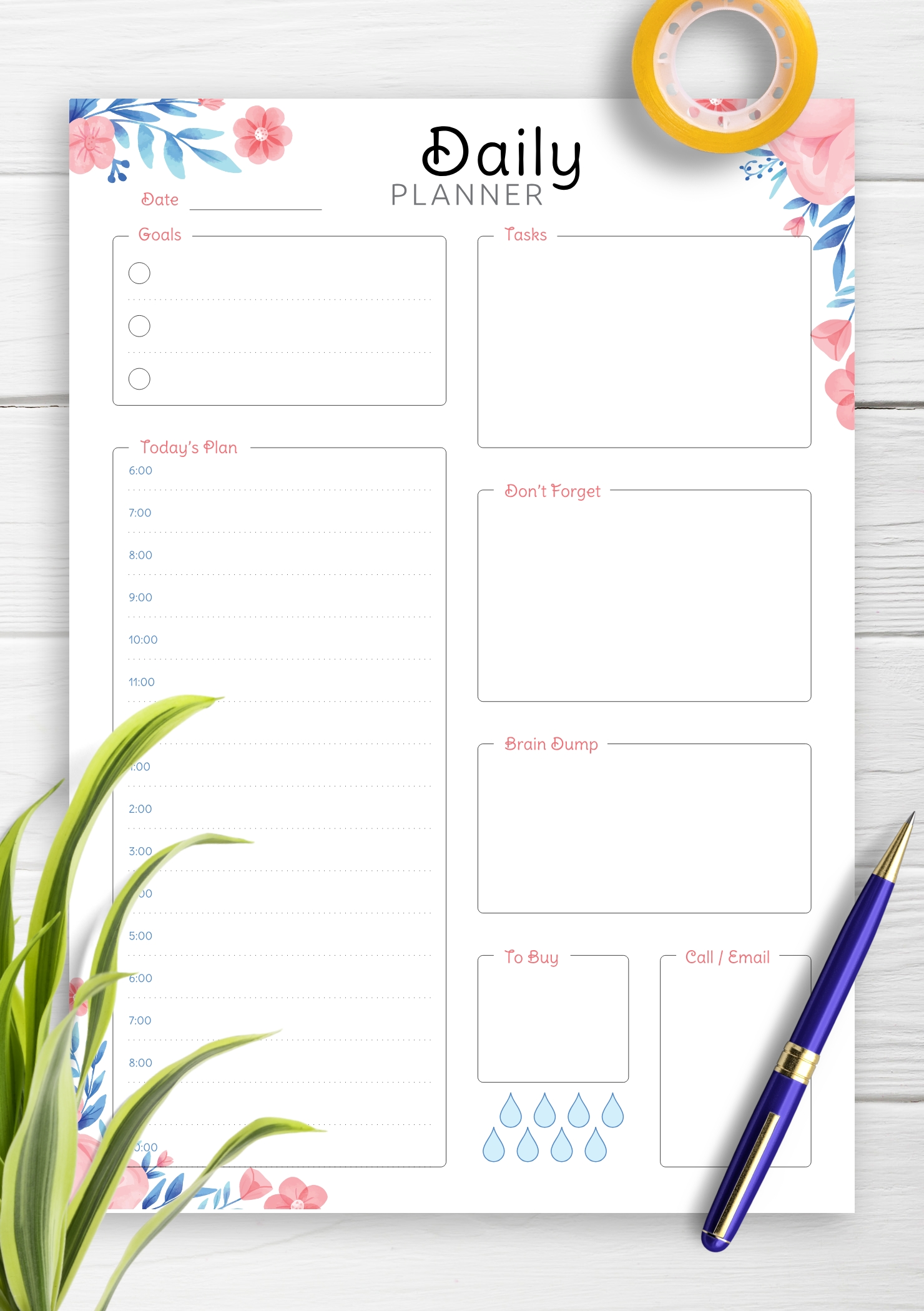 Catch Hour By Hour Day Template