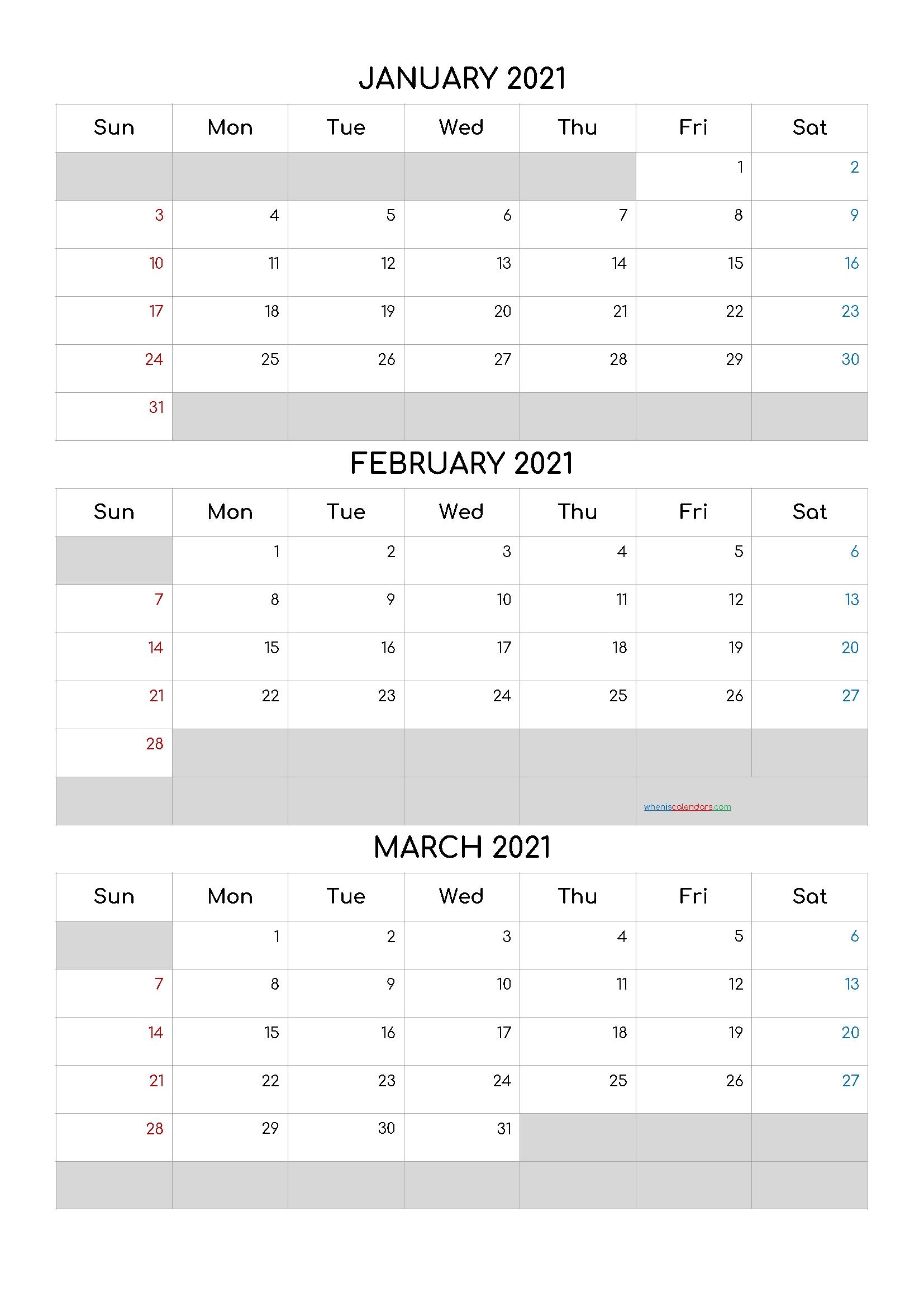 Catch Jan Feb March Calendar 2021