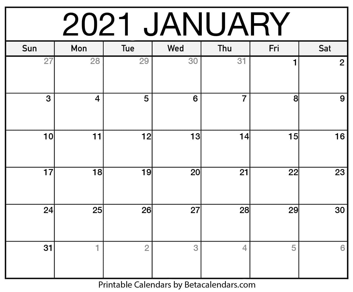 Catch January 2021 Blank Calendar Motivated
