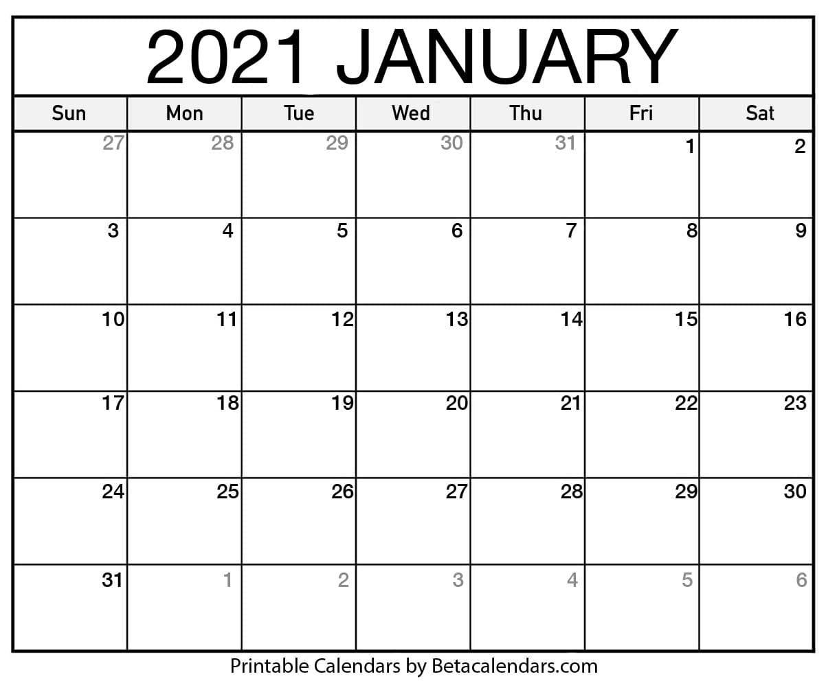 Catch January 2021 Calendar Printable Org