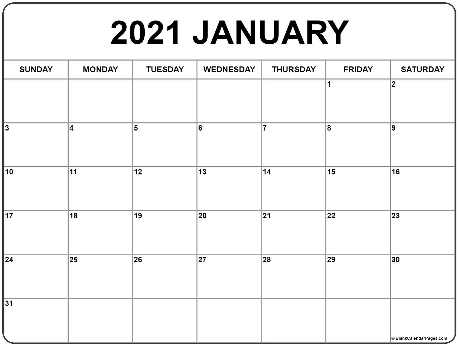Catch January 2021 Calendar