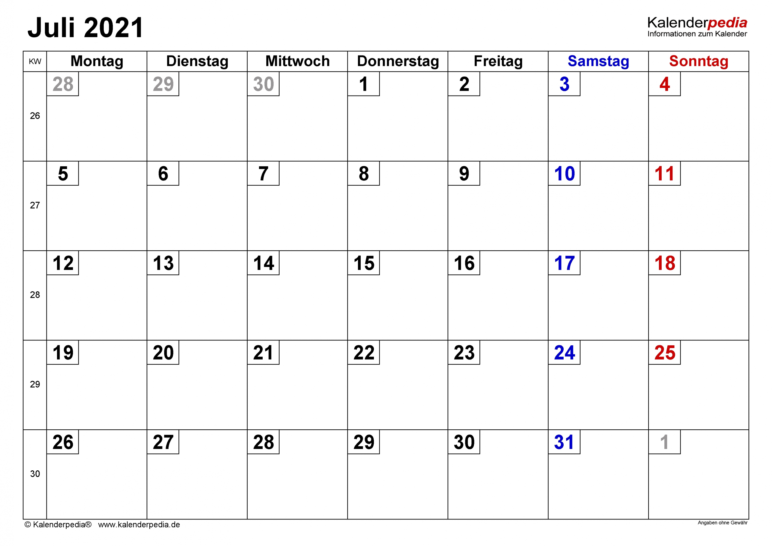 Catch Juli 2021 Kalender