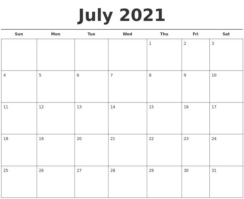 Catch July 2021 Calendar Template