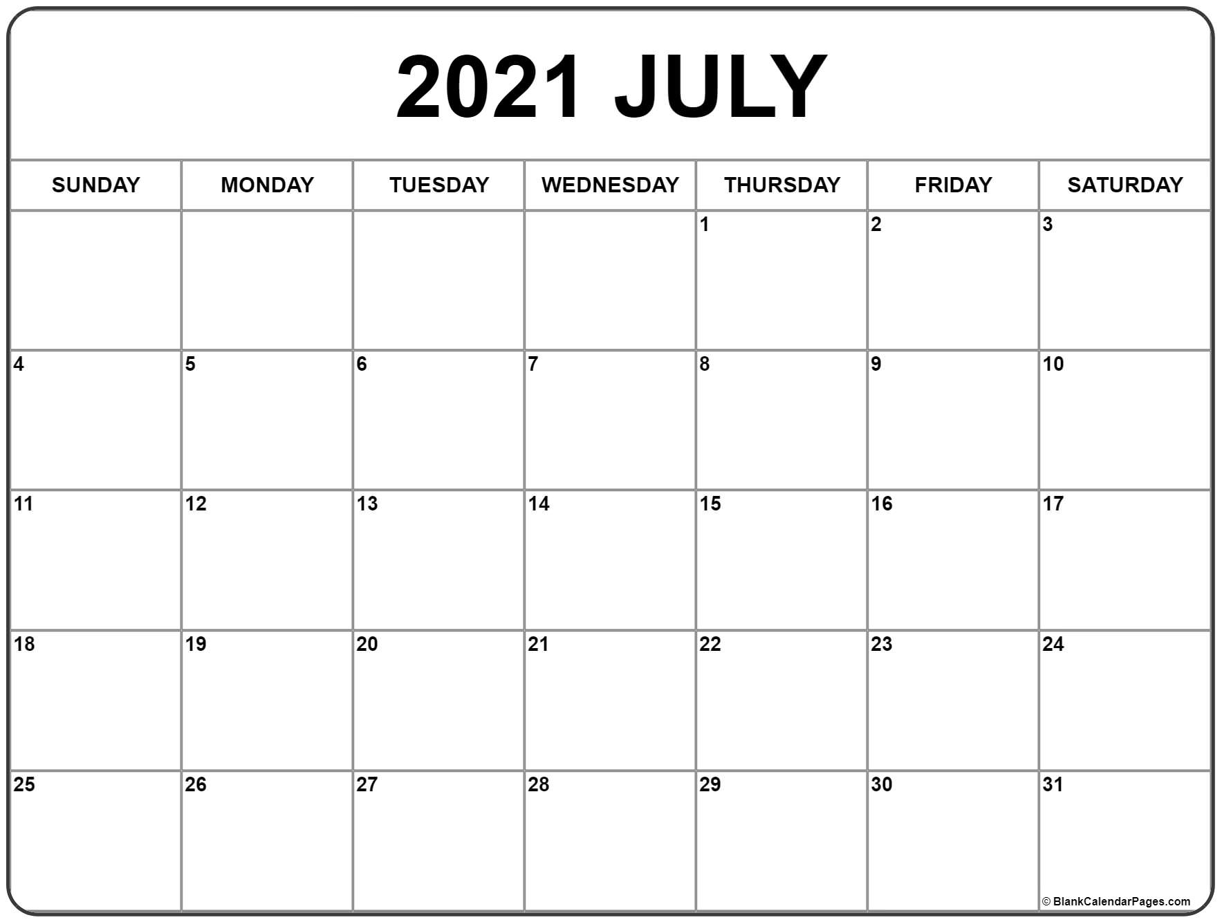 Catch July 2021 Calendar Template