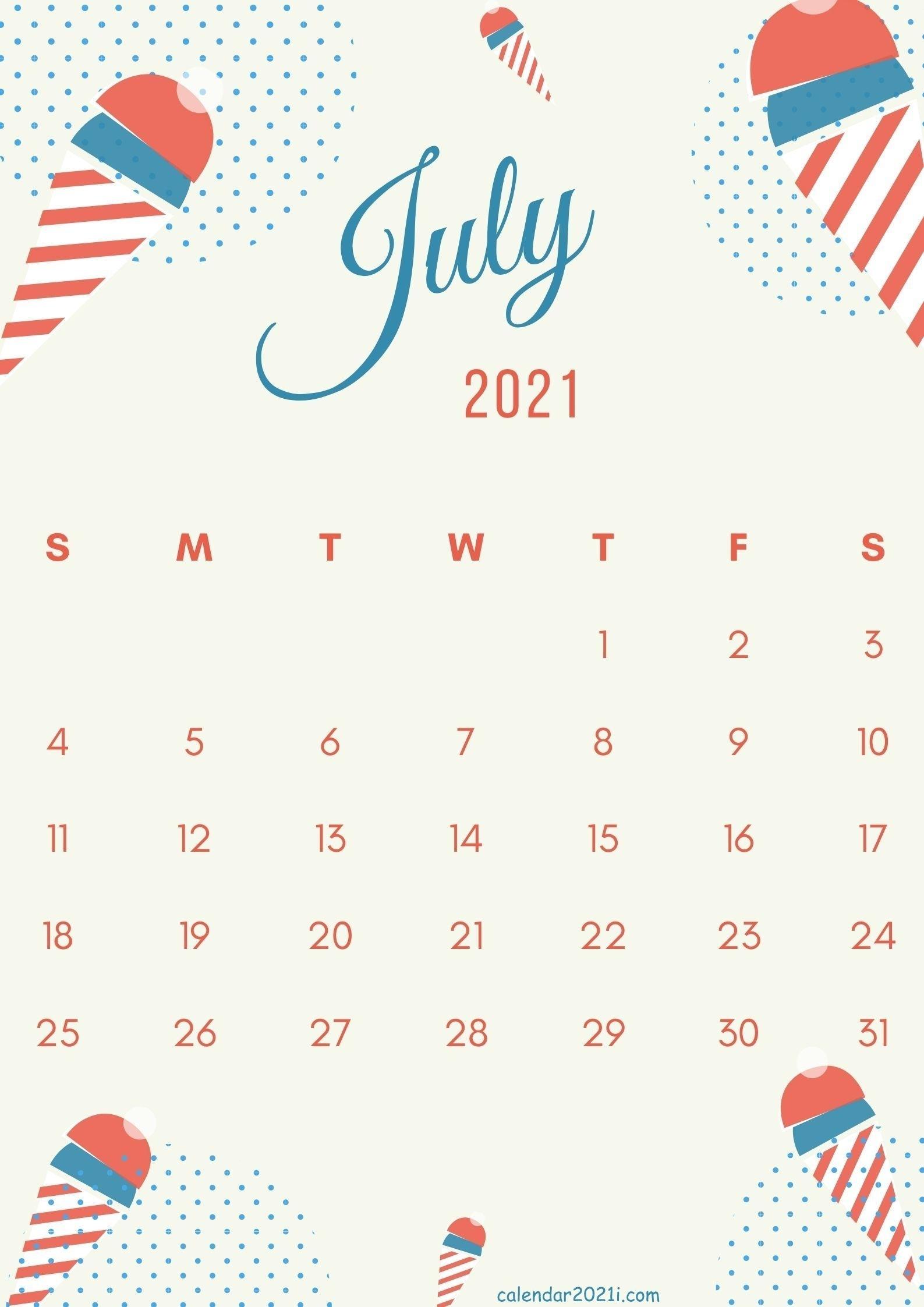 Catch July Calendar Free Screensavers 2021