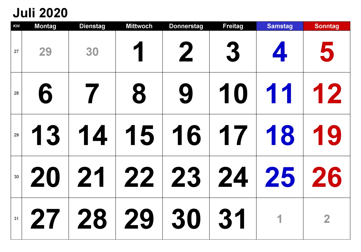 Catch Kalender Juli August