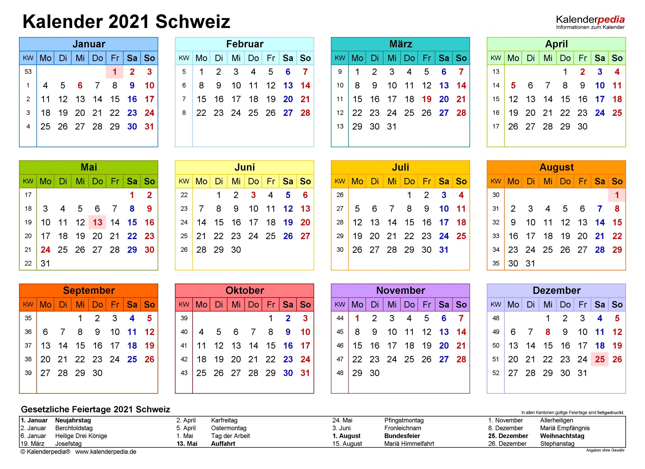 Catch Kalenderpedia 2021 Schweiz Pro Monat