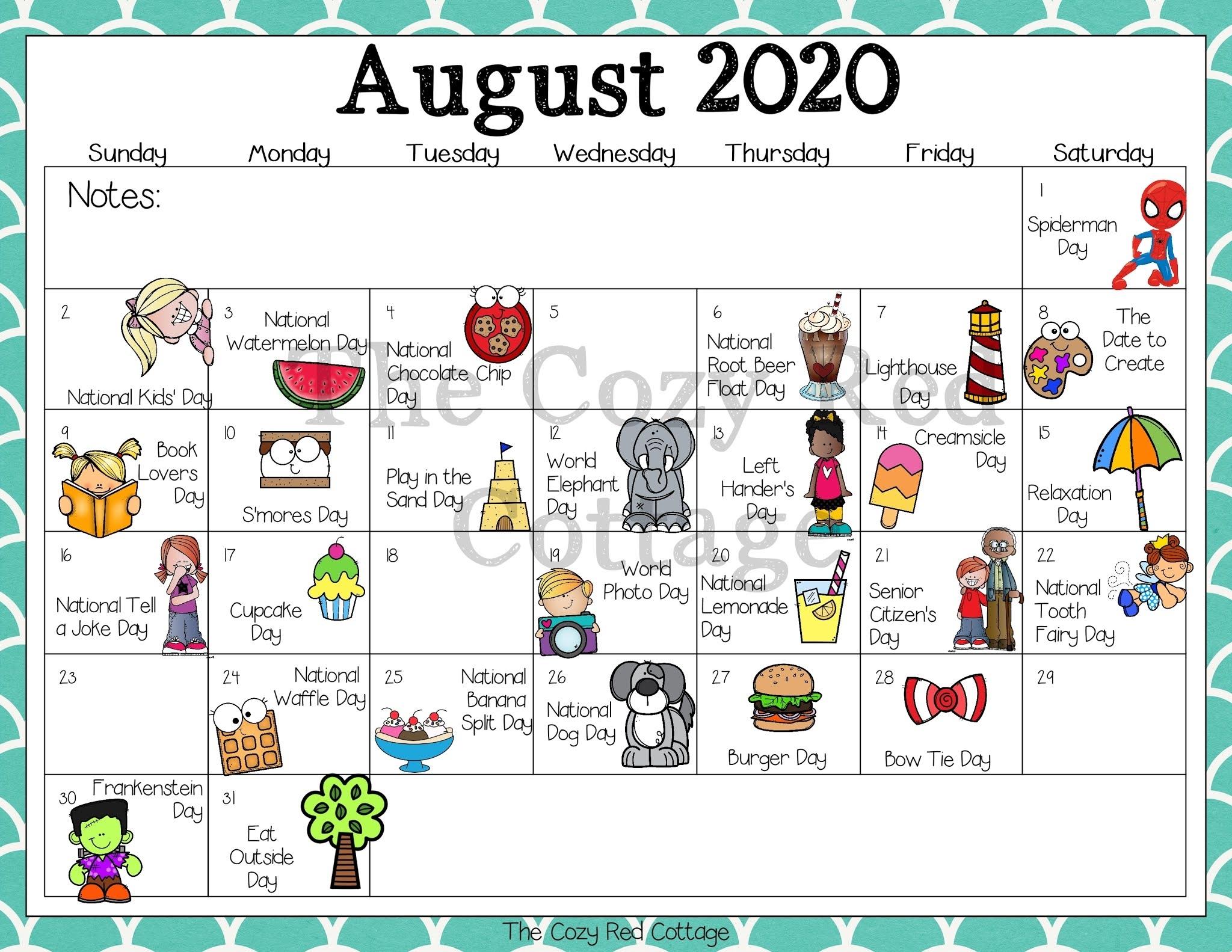 Catch Kids August Calendar