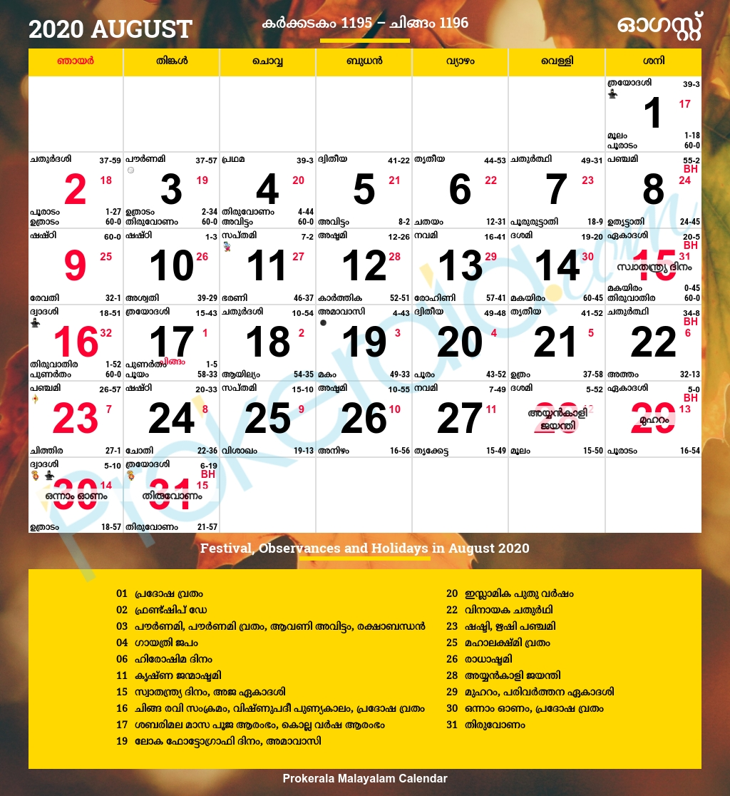 Catch Malayalam Manorama Calendar August 2021
