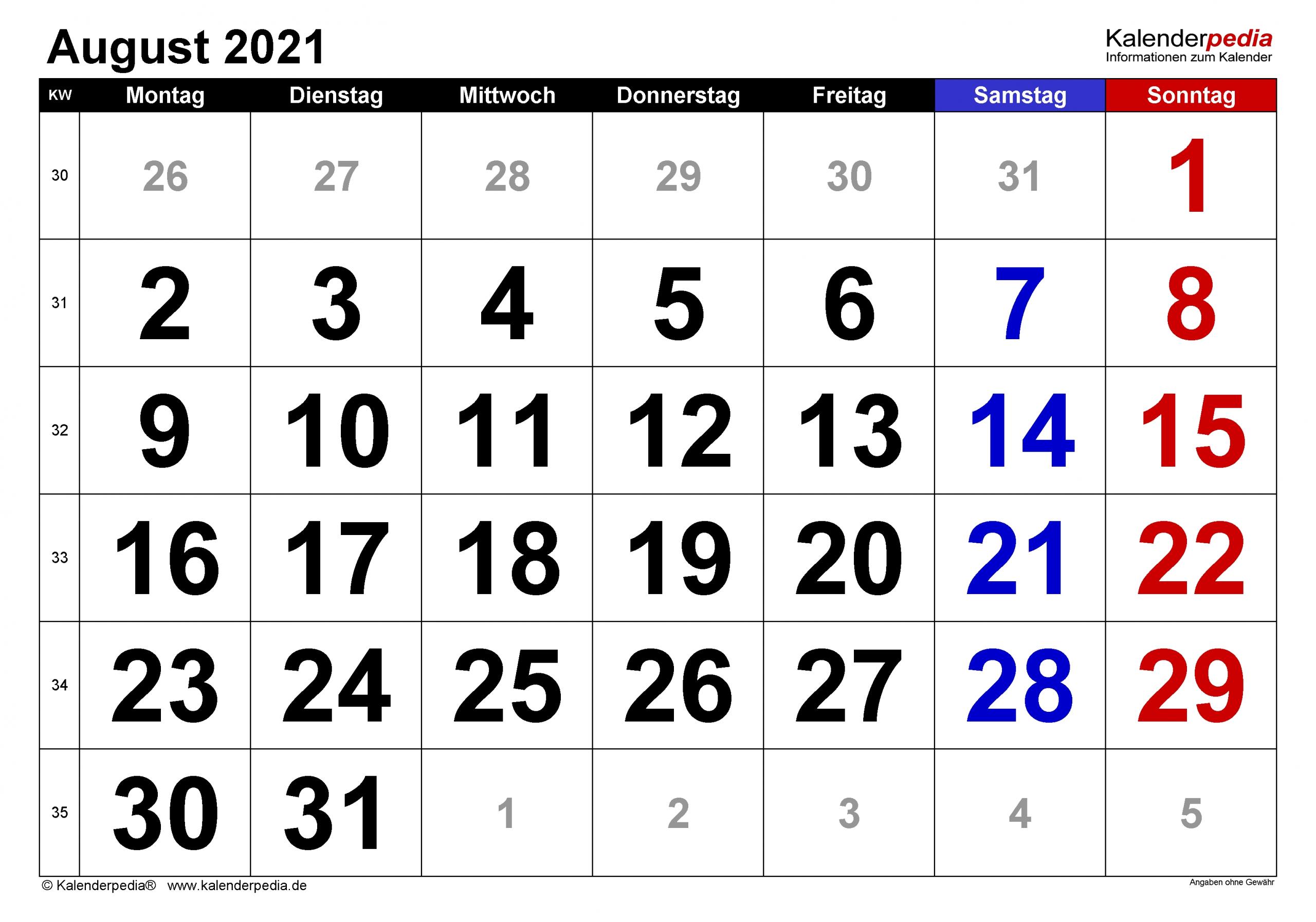 Catch Monatsplaner 2021 August