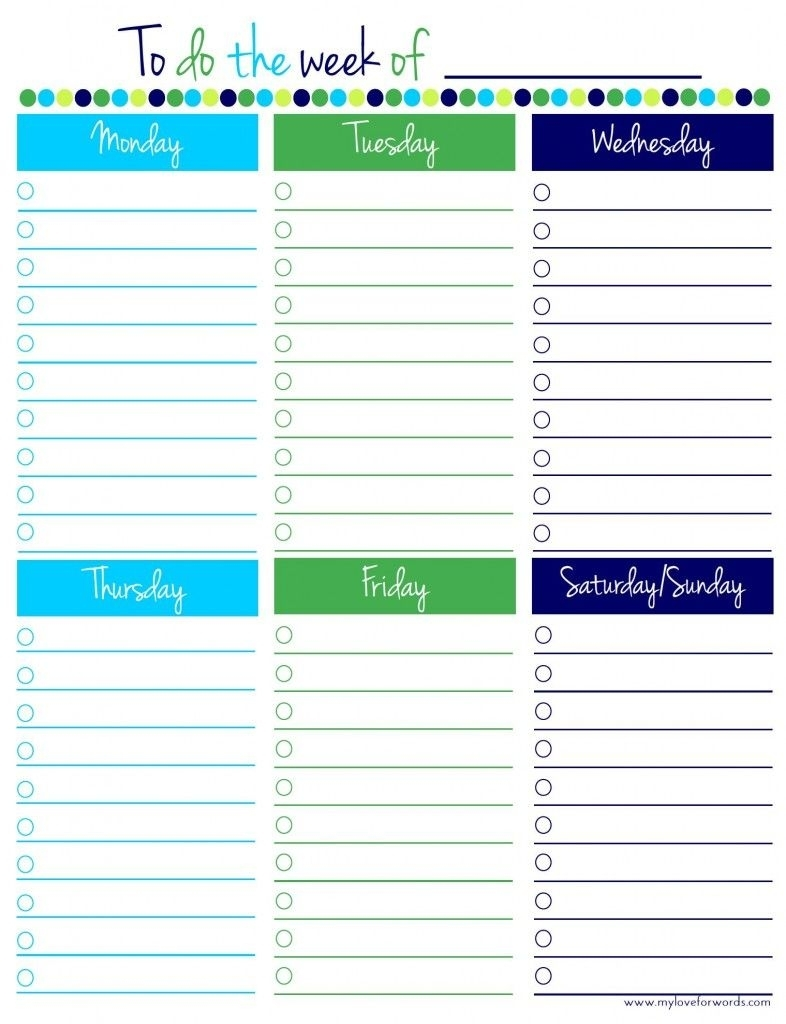 Catch Monday - Friday To Do List
