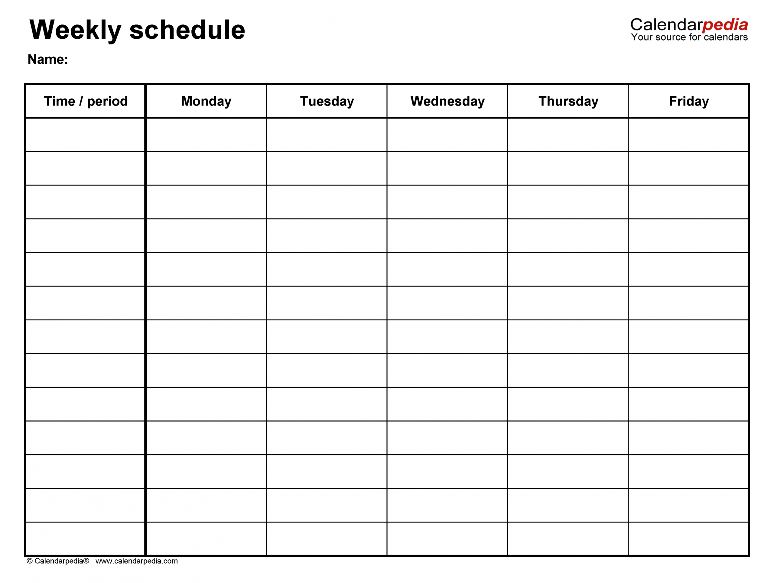 Catch Monday Through Friday Blank Schedule