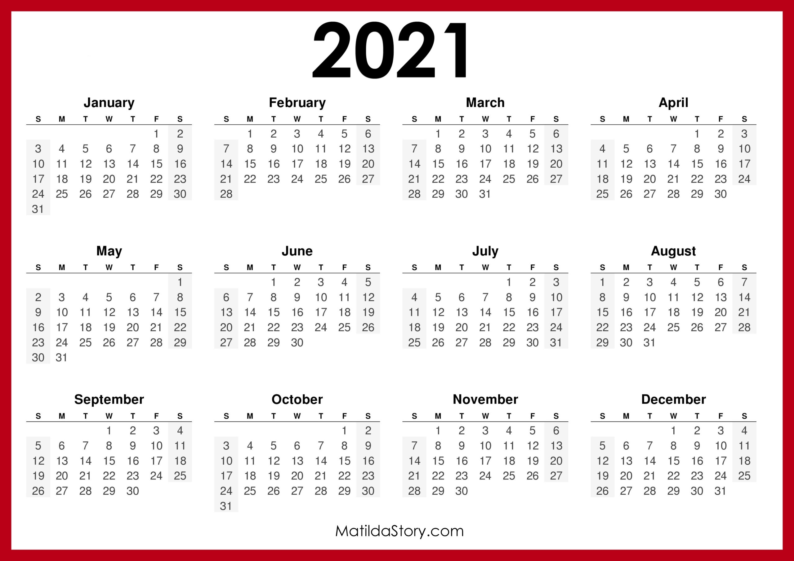 Catch Monday Through Sunday Calendar 2021
