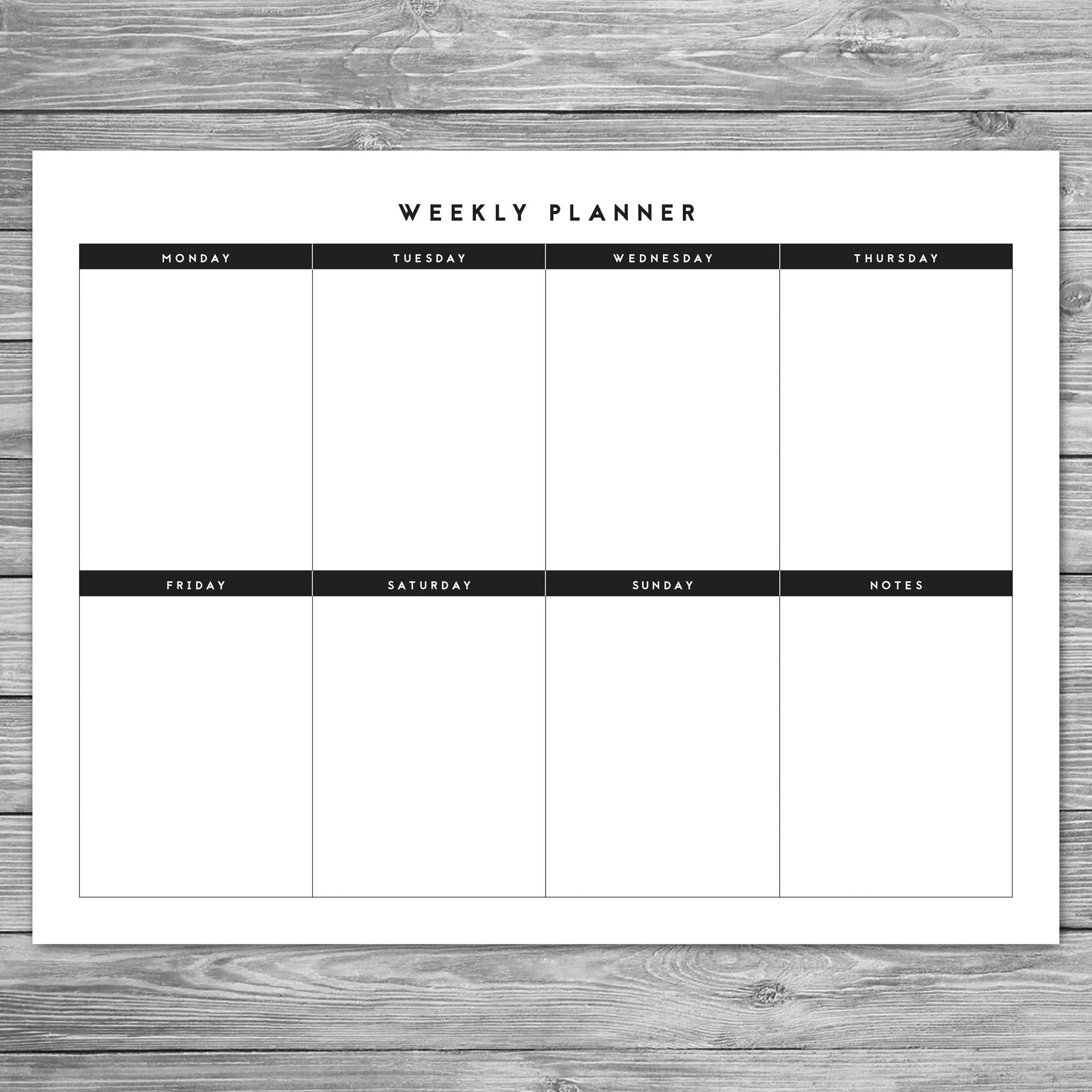 Catch Monday Thru Sunday Checklist Template
