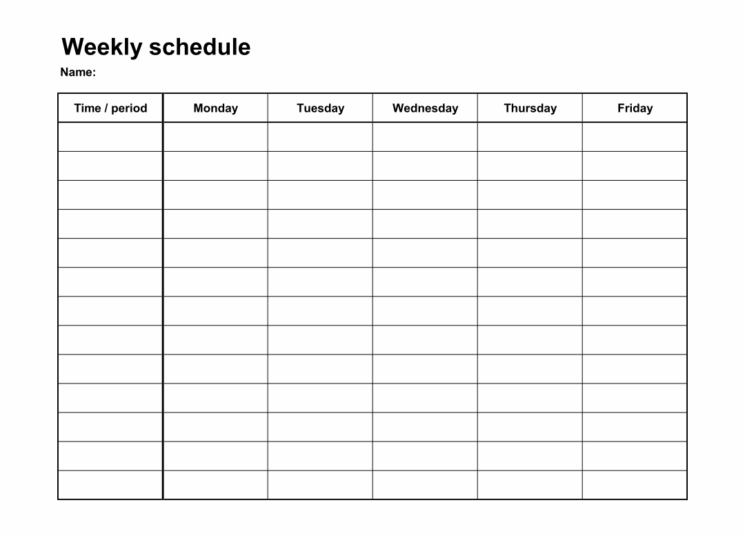 Catch Monday To Friday Calendar Template