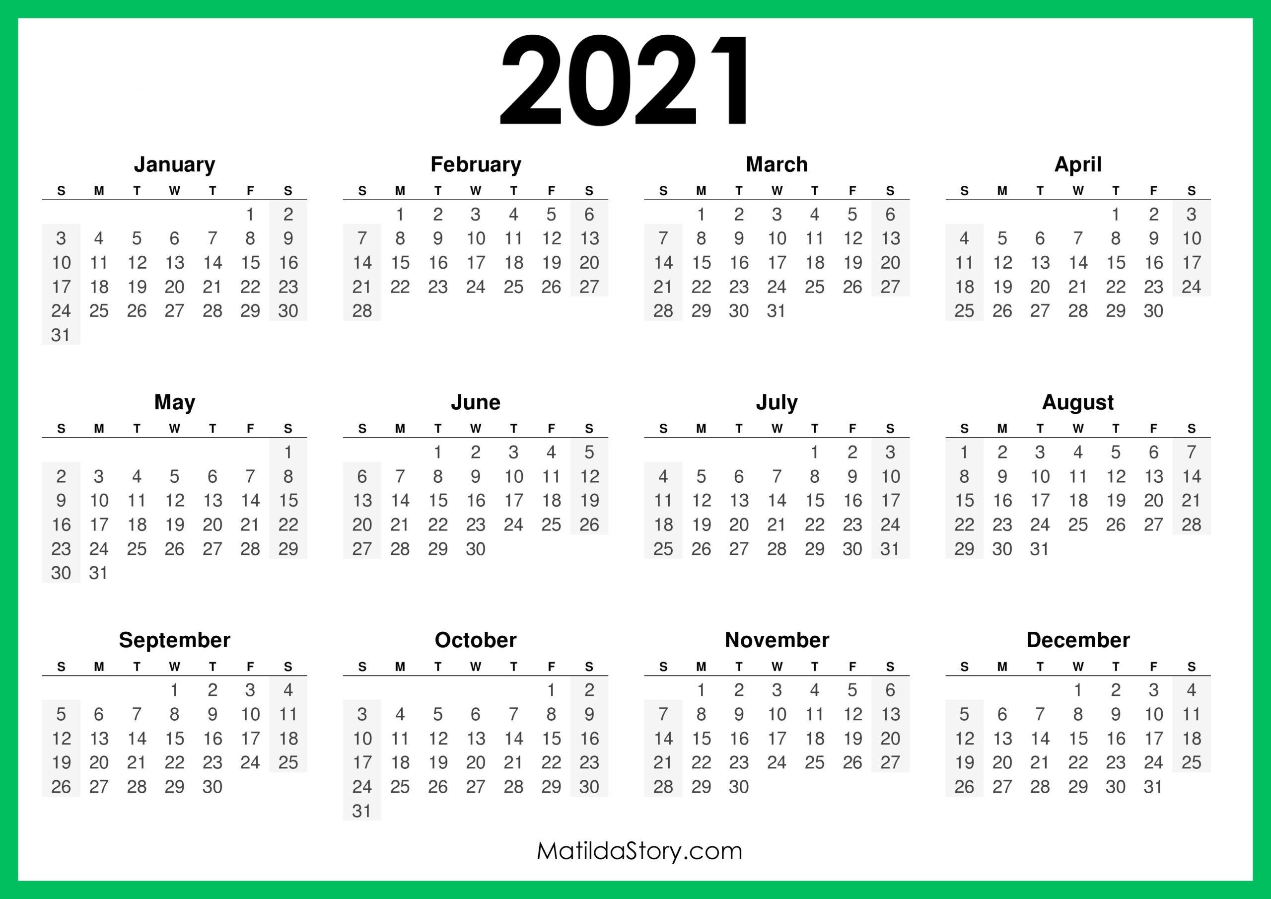 Catch Monday To Sunday 2021 Calendar