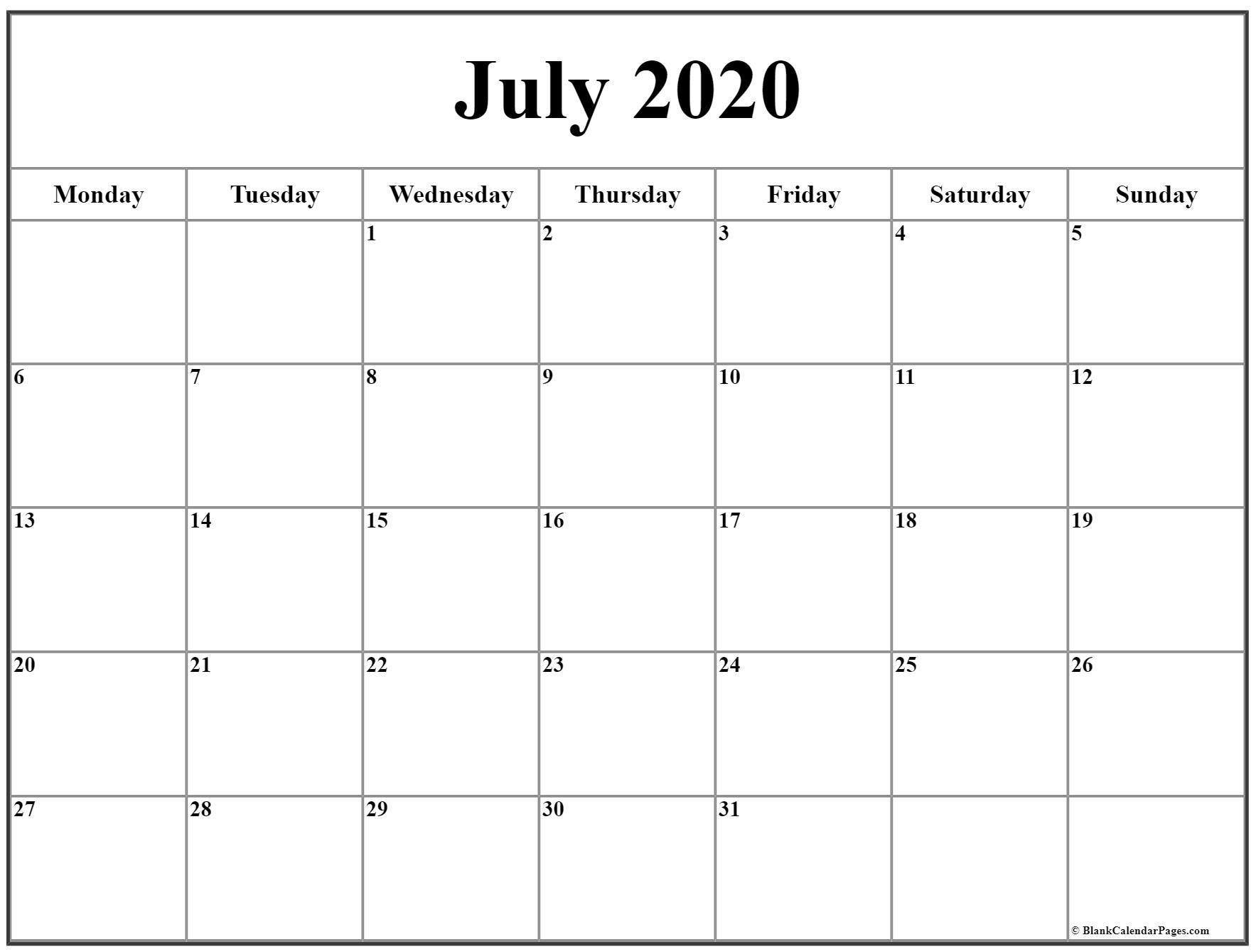 Catch Monday To Sunday Calendar