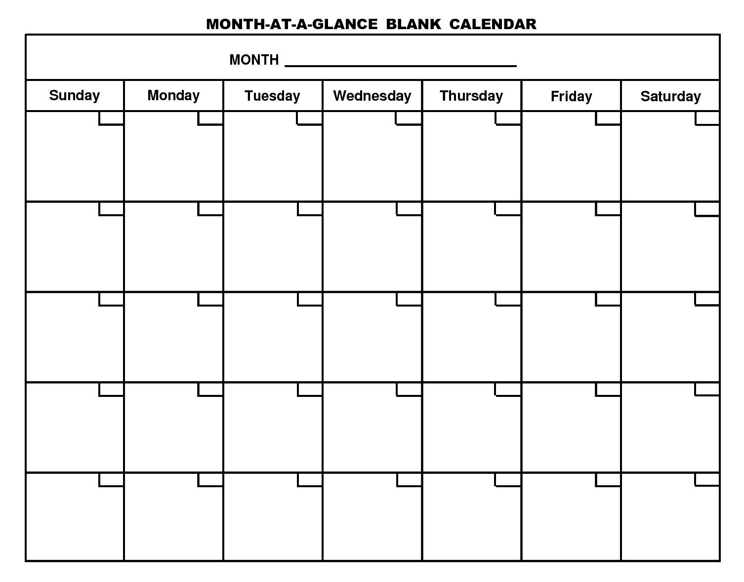 Catch Month At A Glance Blank Calendar Template