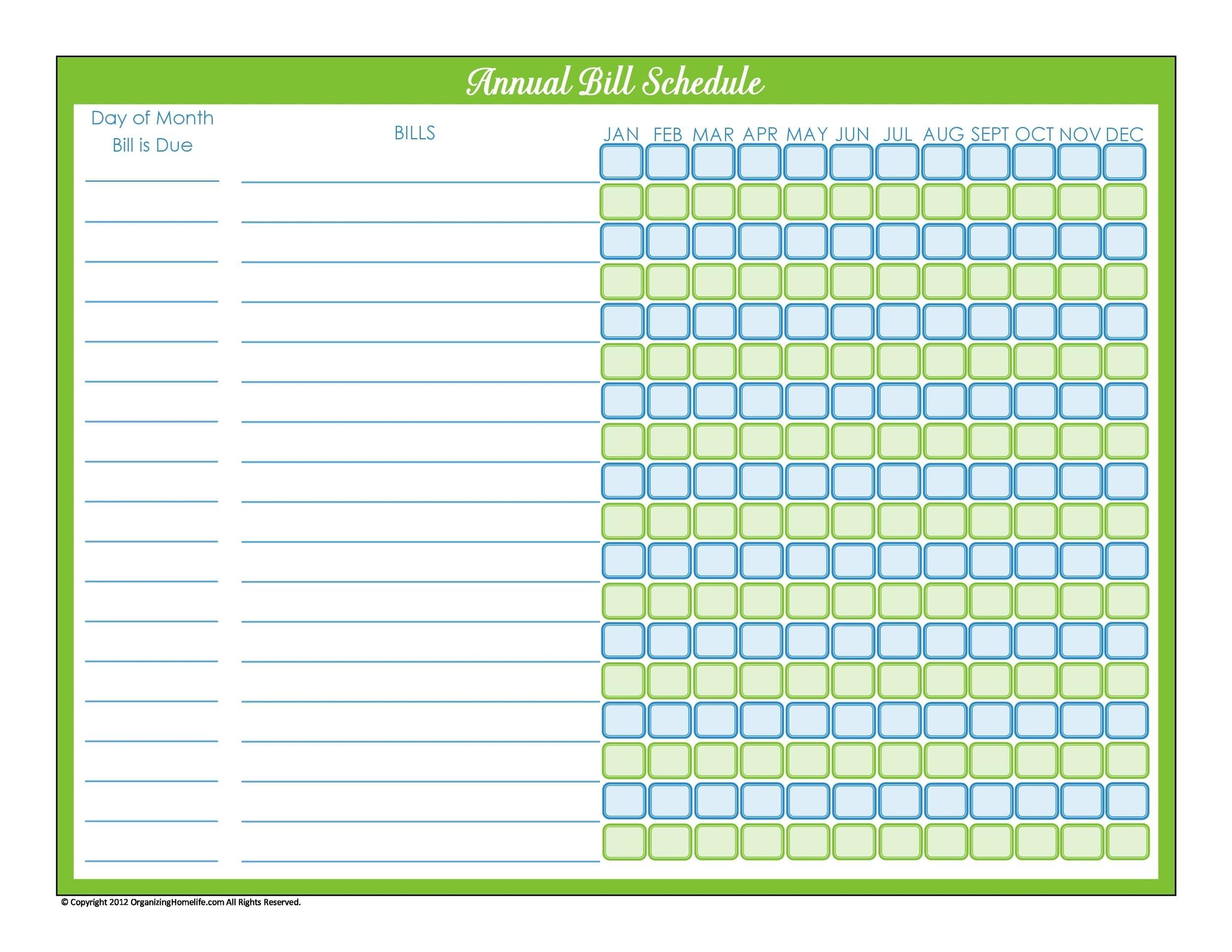 Catch Monthly Bill Calendar Template