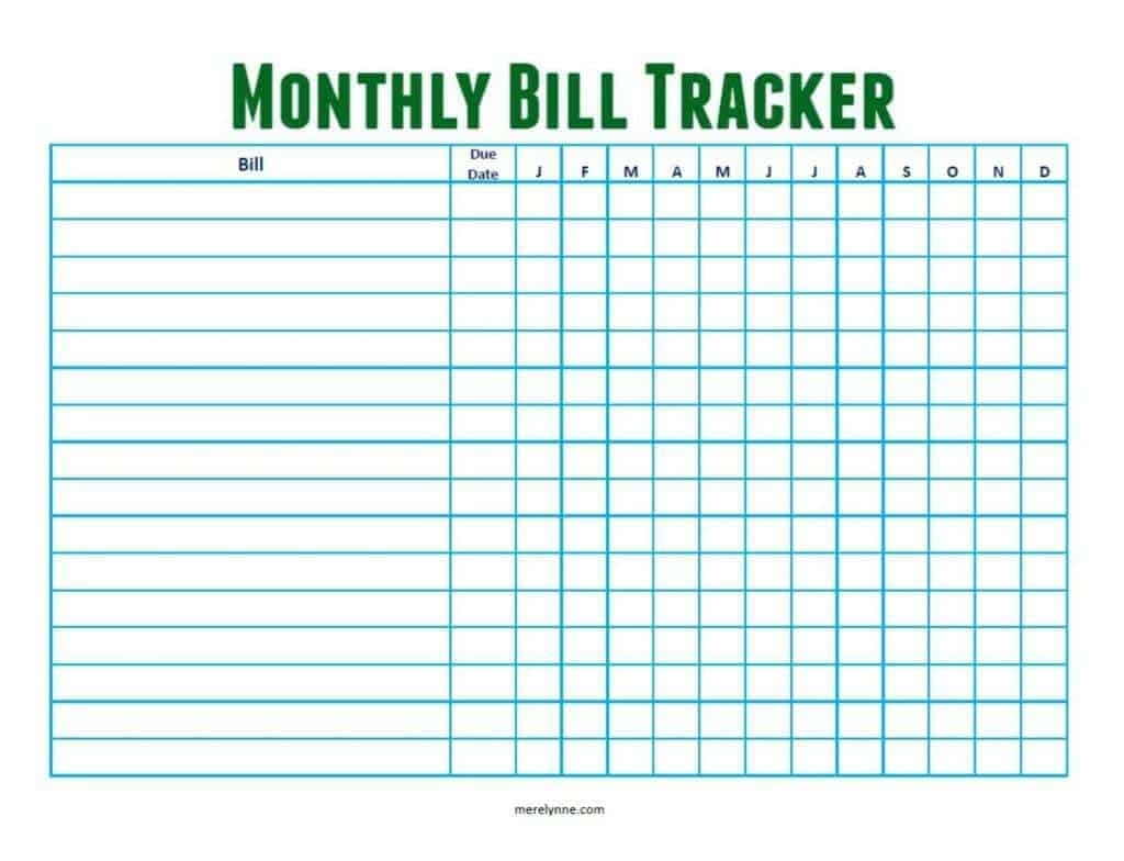 Catch Monthly Bill Due Date Printable